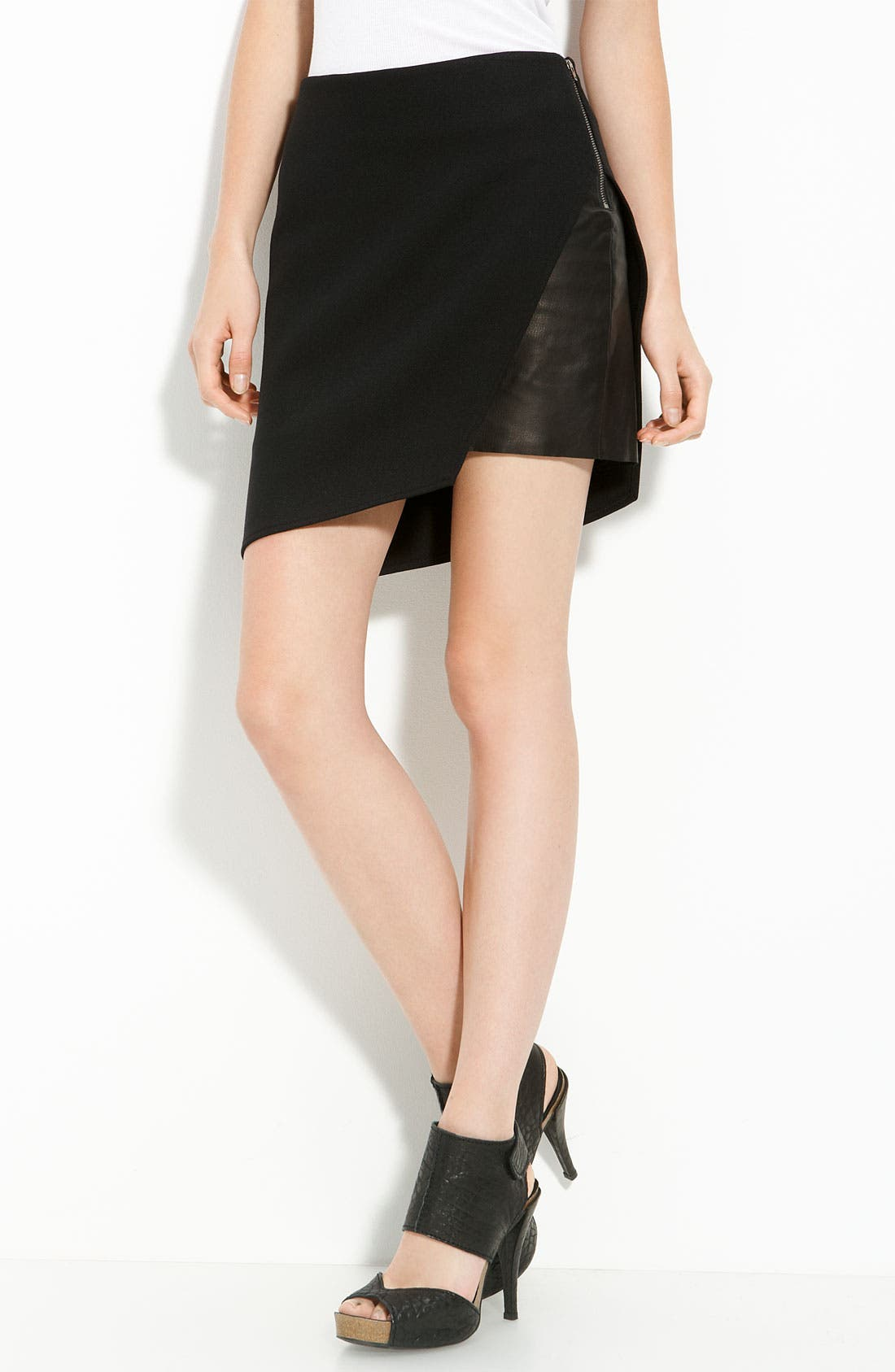 Leather Panel Ponte Knit Skirt,                         Main,                         color, 001