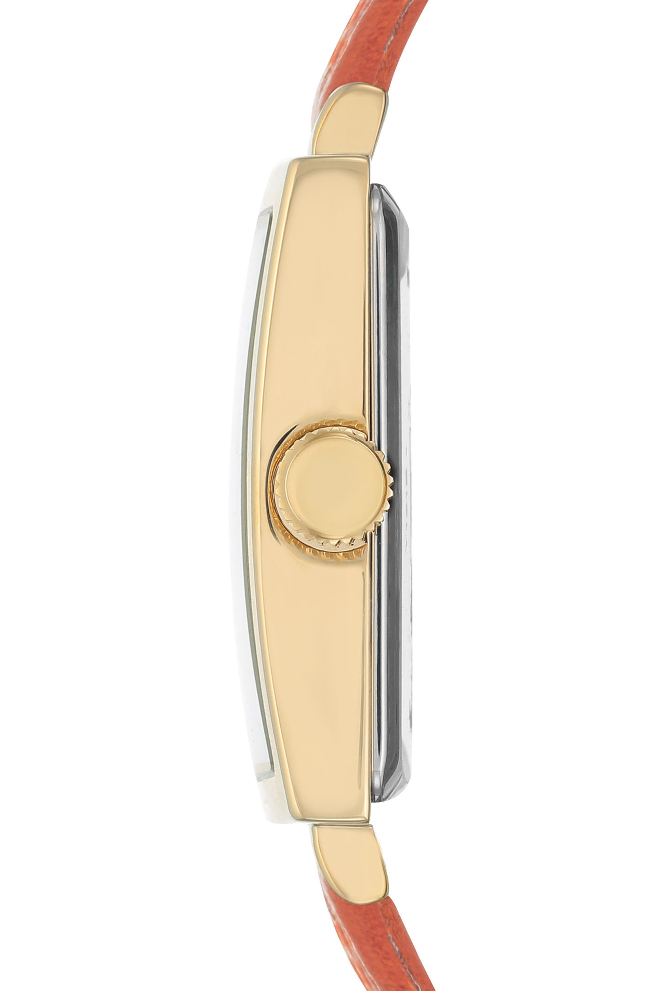 Square Leather Strap Watch, 42mm x 34mm,                             Alternate thumbnail 9, color,