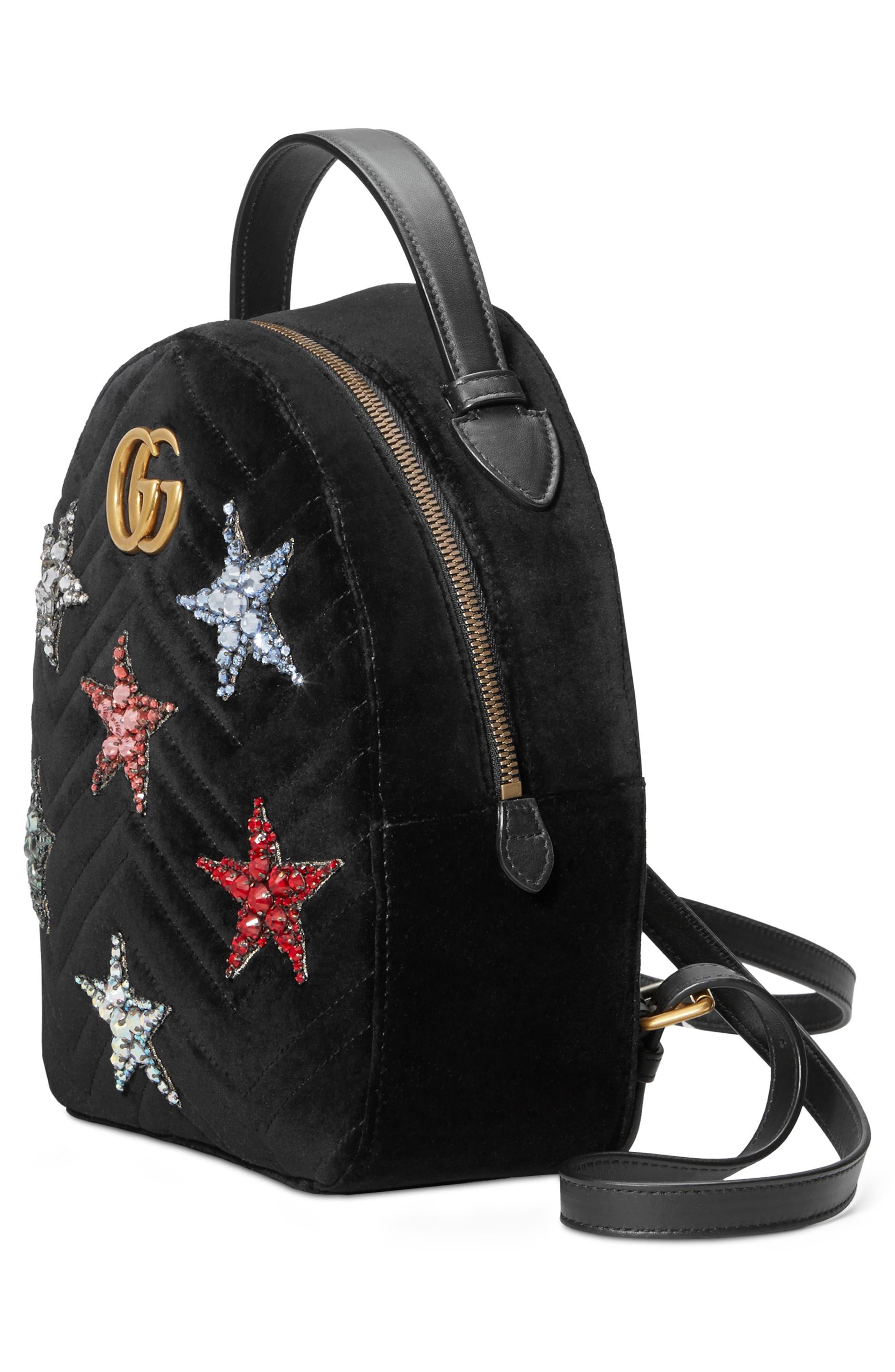 Marmont 2.0 Crystal Stars Velvet Backpack,                             Alternate thumbnail 3, color,                             NERO/ NERO MULTI