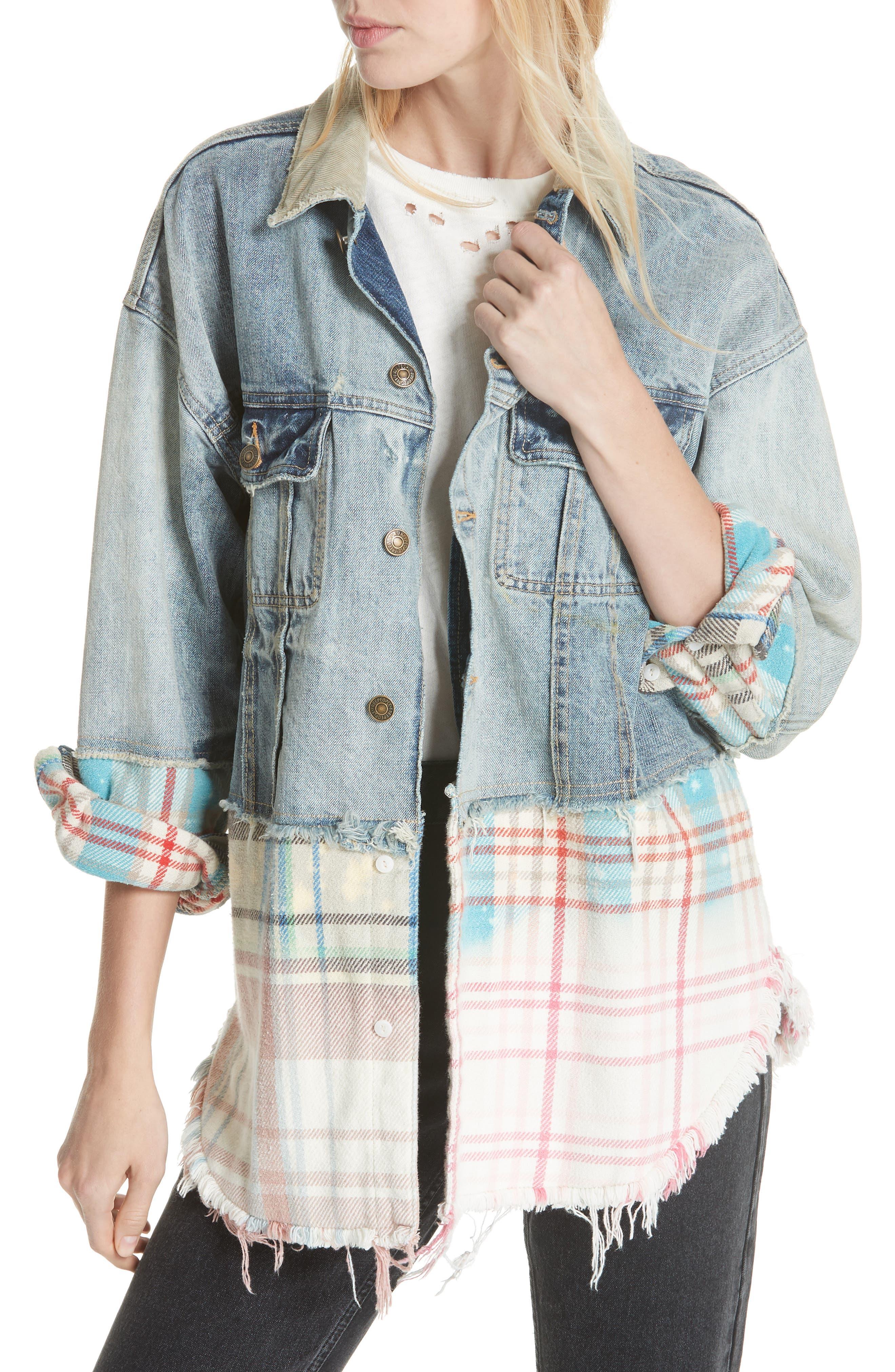 Sirius Plaid & Denim Jacket,                         Main,                         color, 456