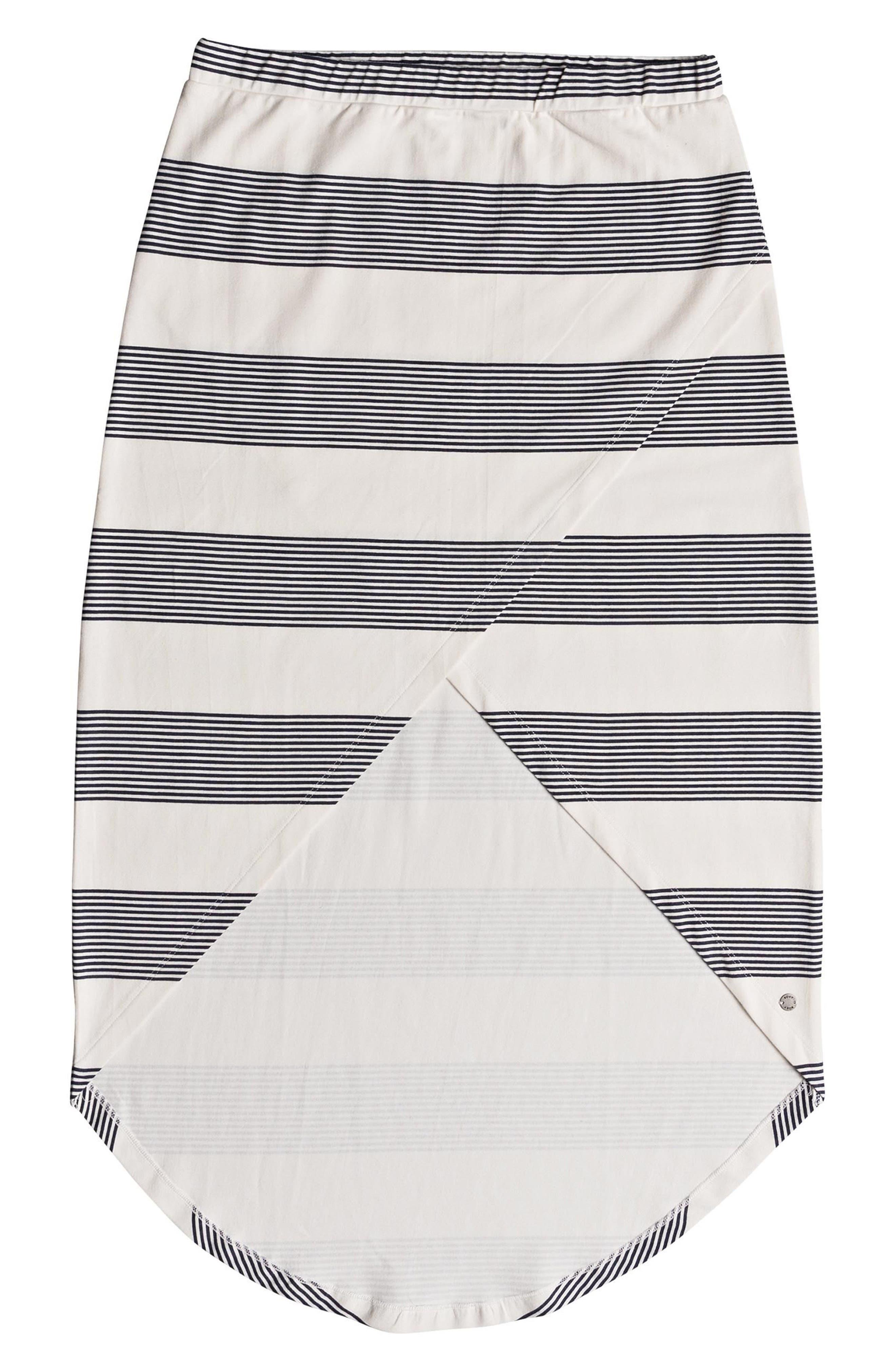 Romantic Ocean Stripe High/Low Skirt,                             Alternate thumbnail 4, color,                             900