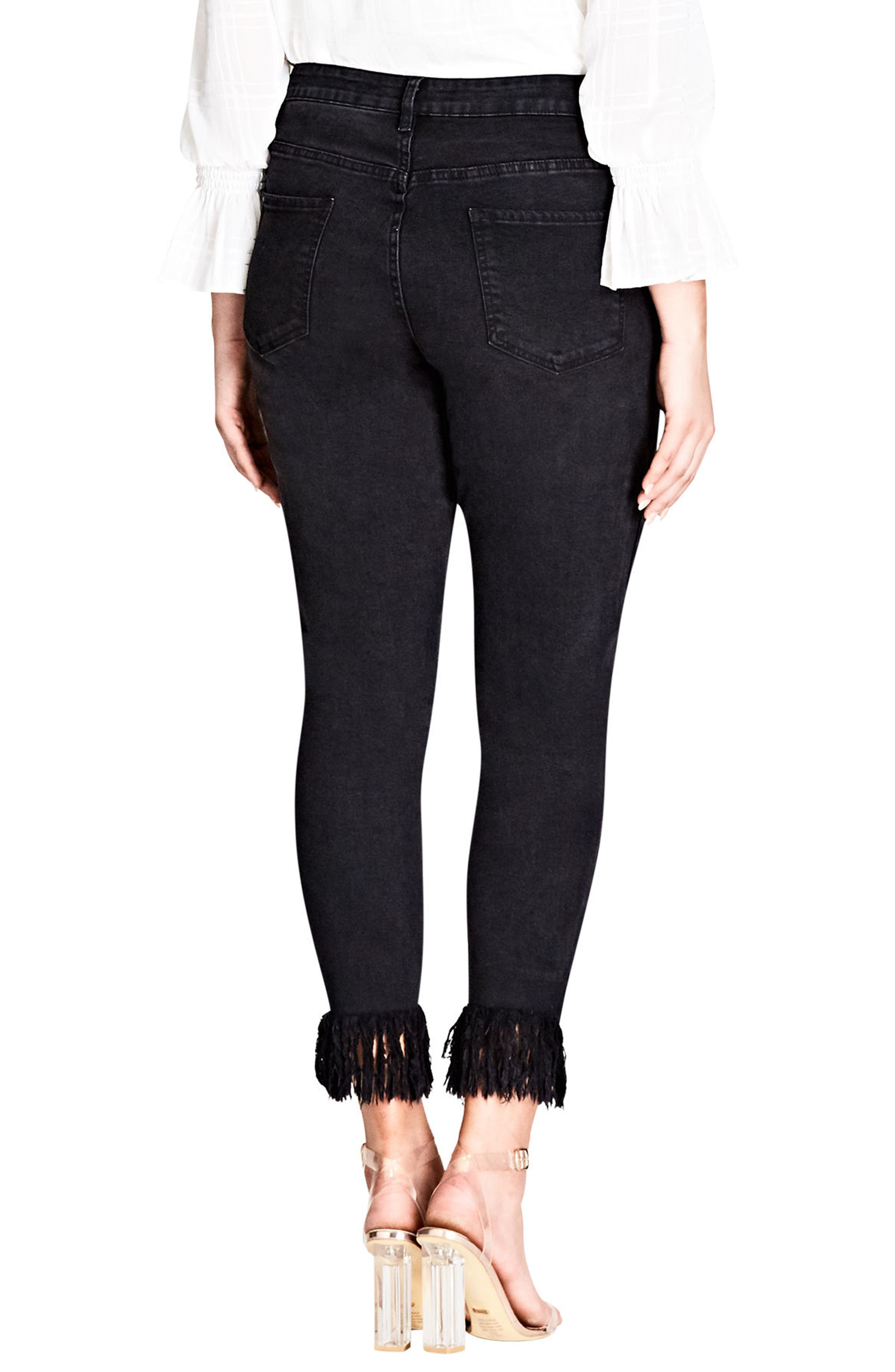 Jean Harley Overfrayed Hem Skinny Jeans,                             Alternate thumbnail 2, color,                             001