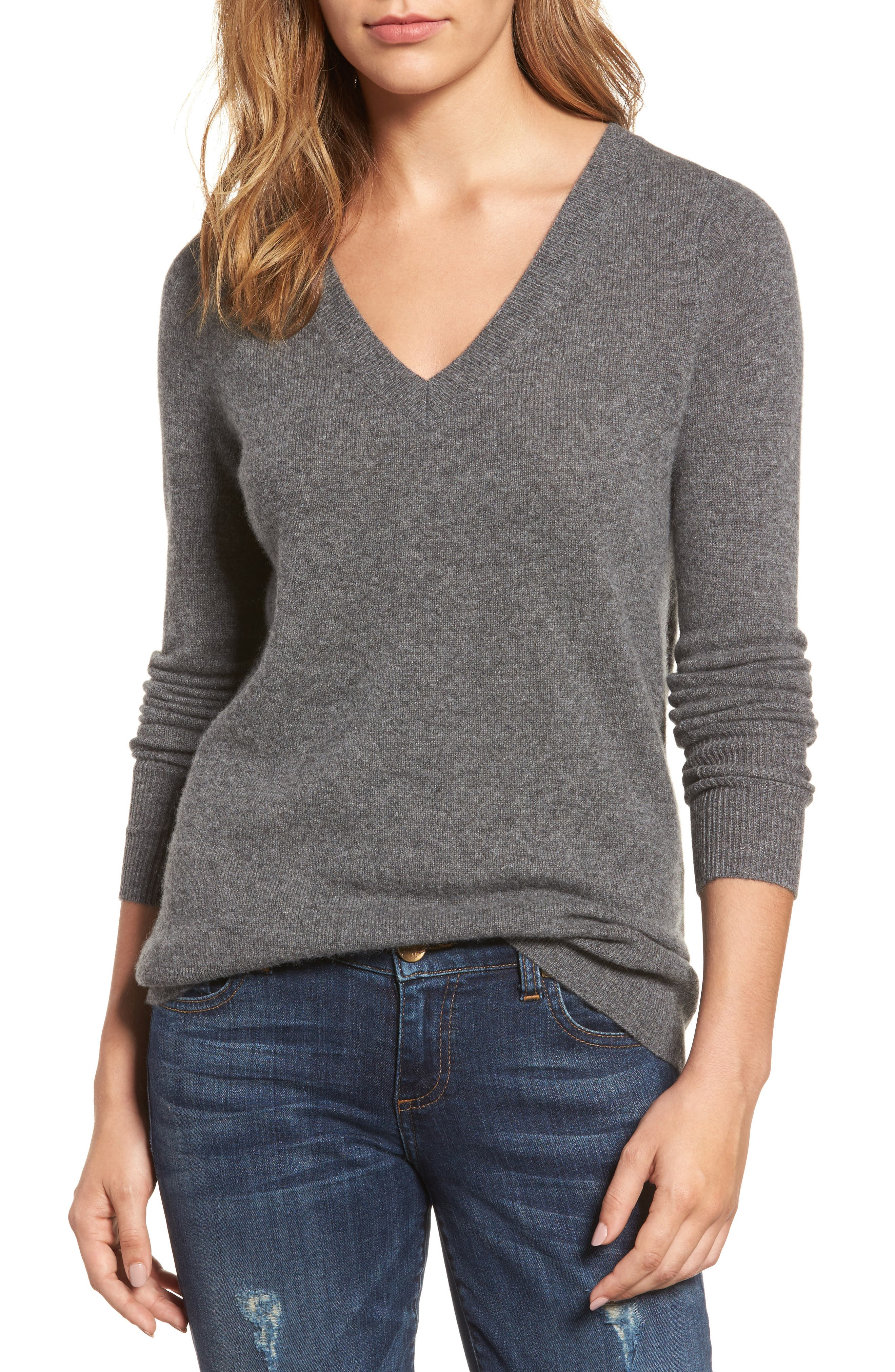 V-Neck Cashmere Sweater,                             Main thumbnail 4, color,