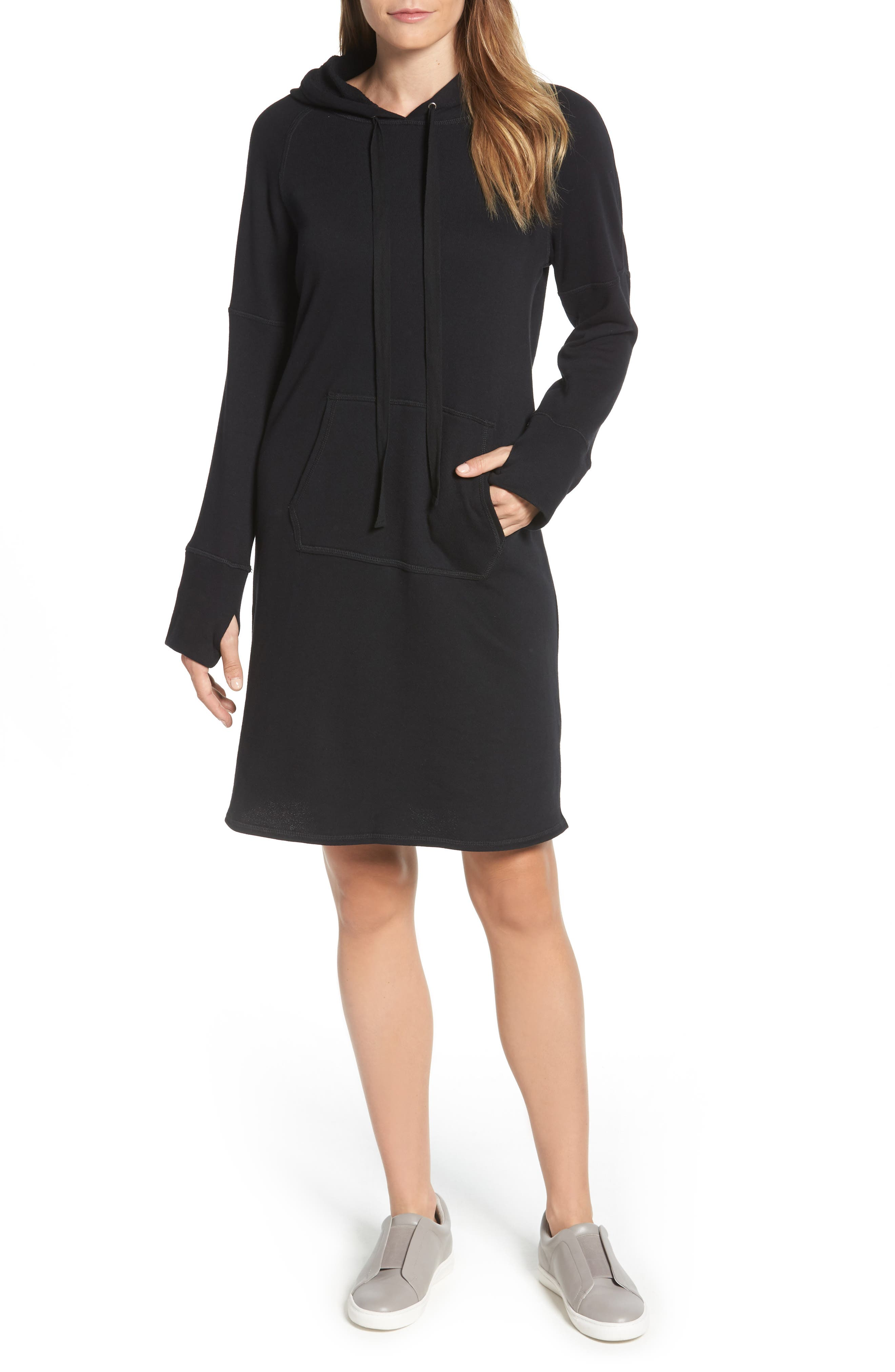 Hooded French Terry Dress,                         Main,                         color,
