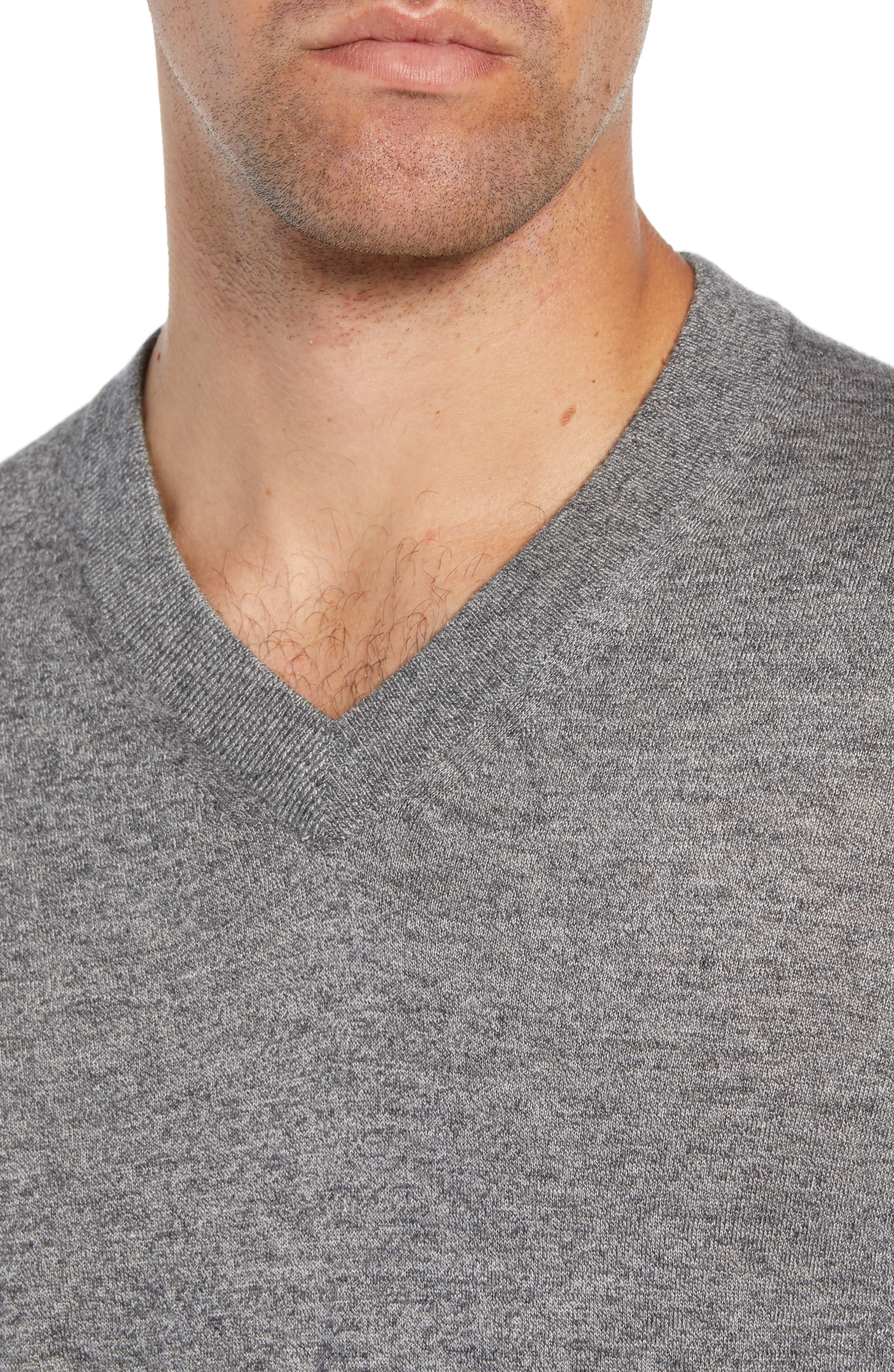 Noel Slim Fit V-Neck Wool Blend Sweater,                             Alternate thumbnail 4, color,                             GREY