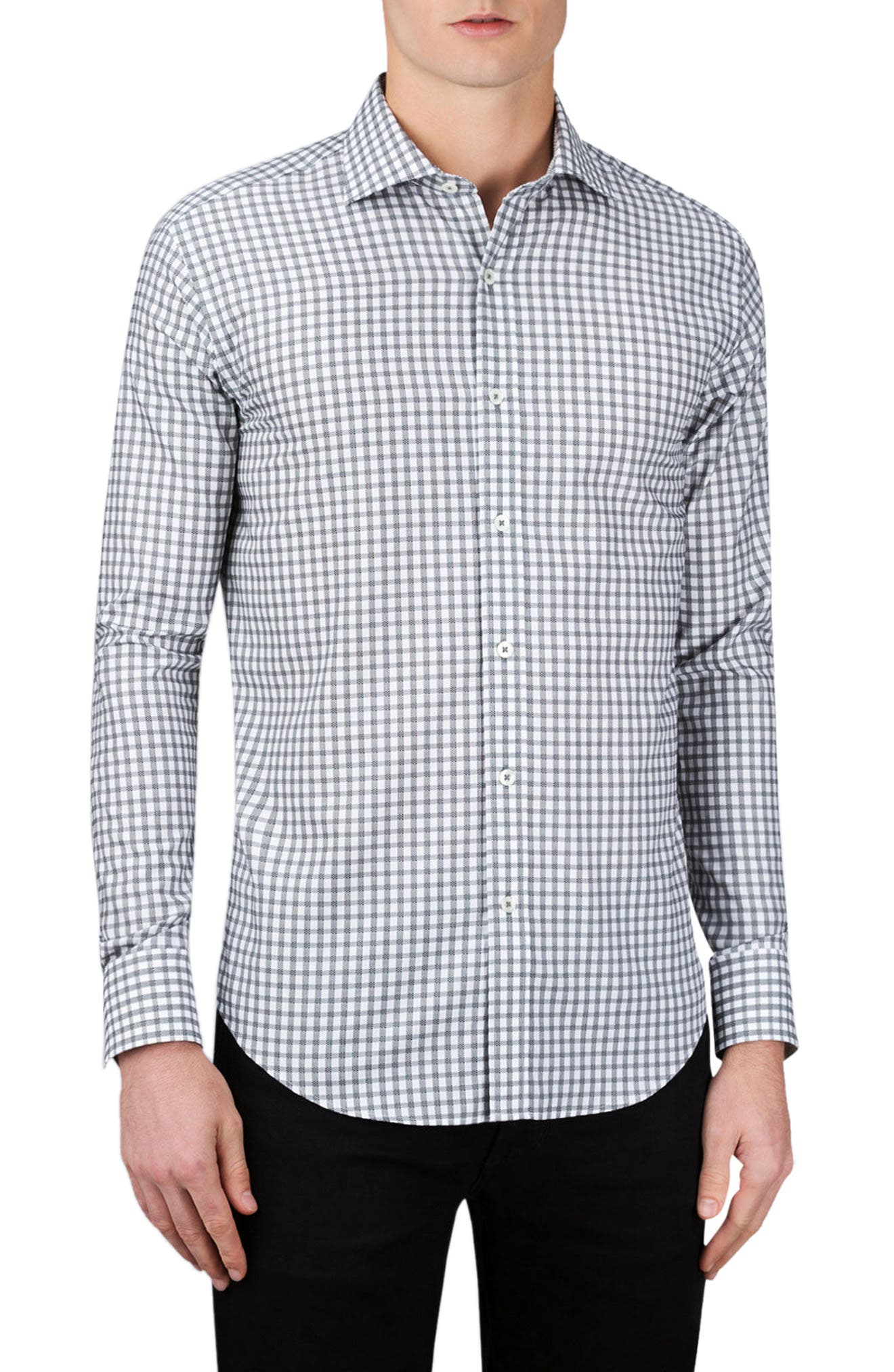 Shaped Fit Check Sport Shirt,                             Main thumbnail 1, color,