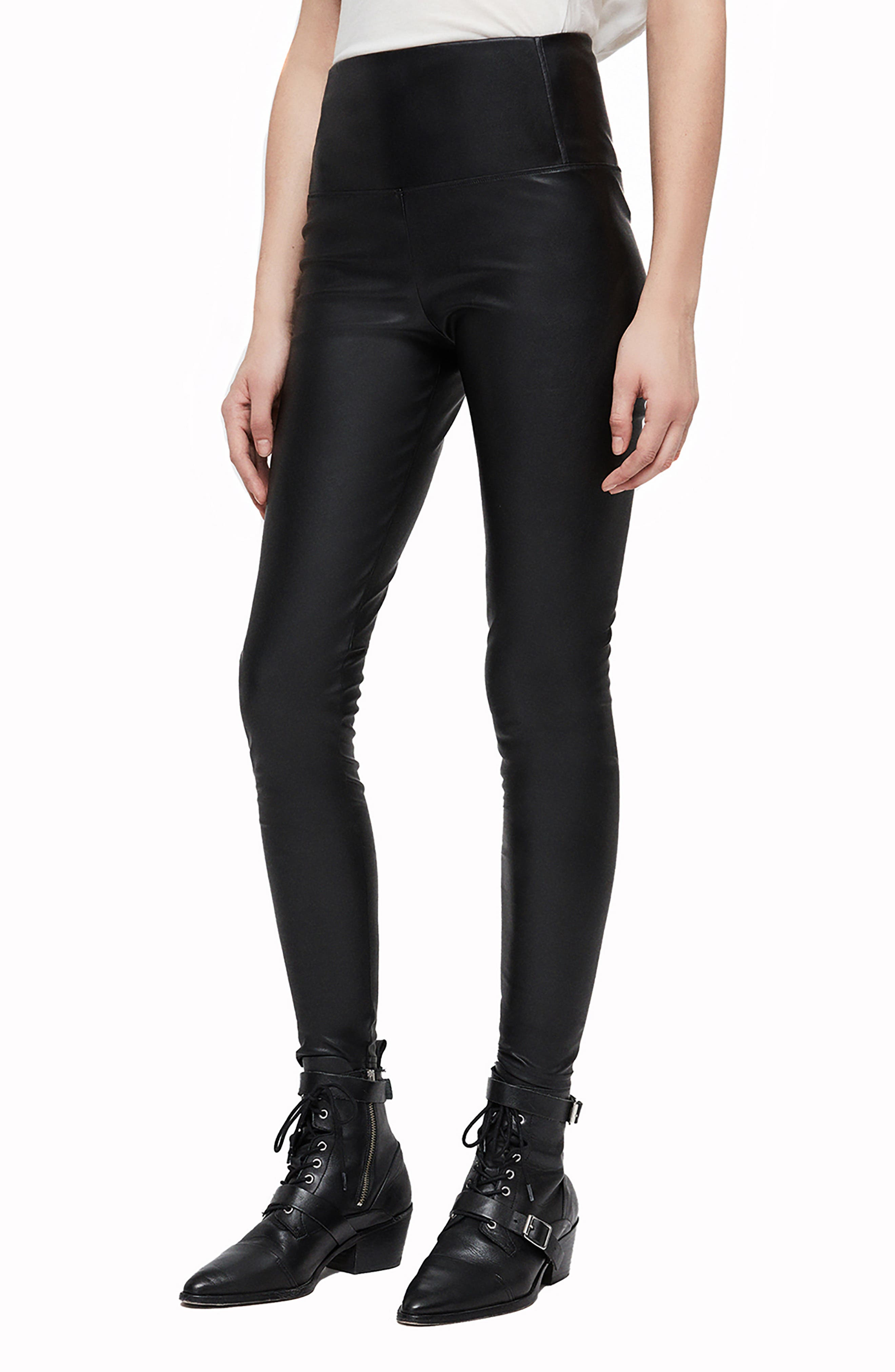 Cora Faux Leather Leggings,                             Alternate thumbnail 3, color,                             BLACK