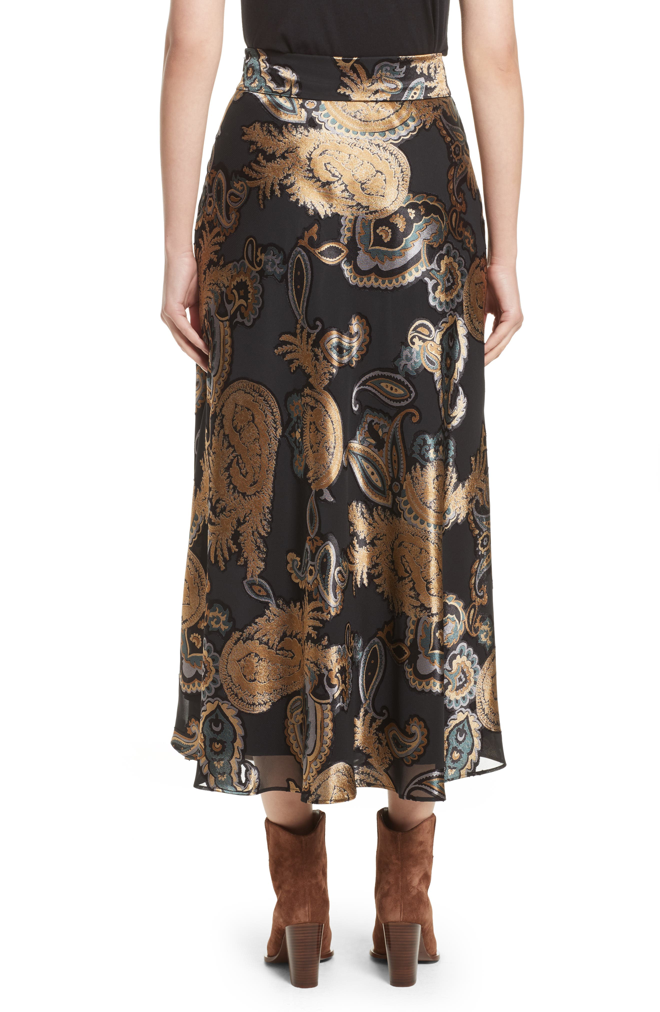 Kamara Renaissance Paisley Devoré Skirt,                             Alternate thumbnail 2, color,                             001