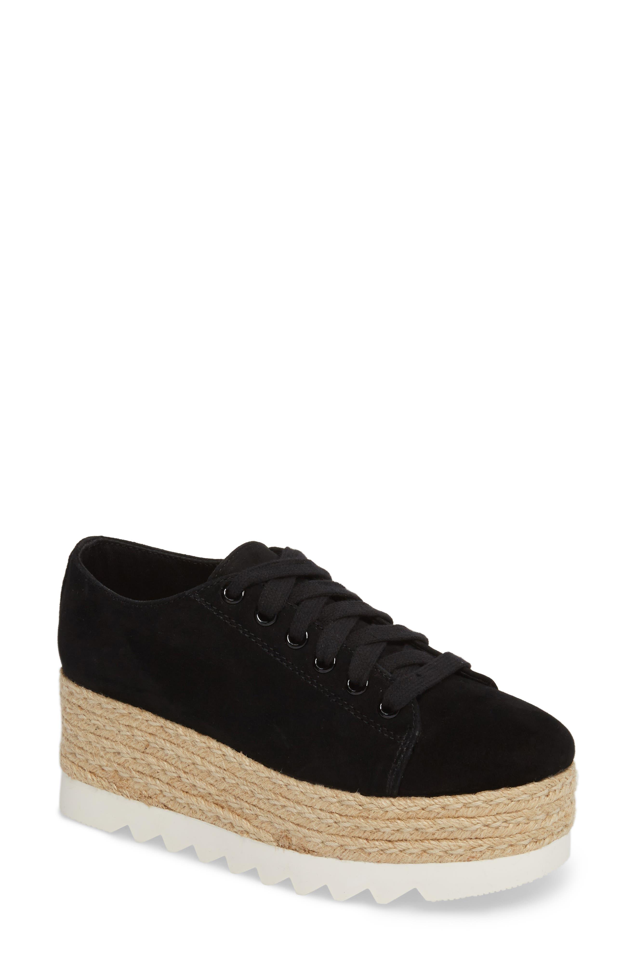 Karma Espadrille Platform Sneaker,                             Main thumbnail 1, color,                             BLACK SUED