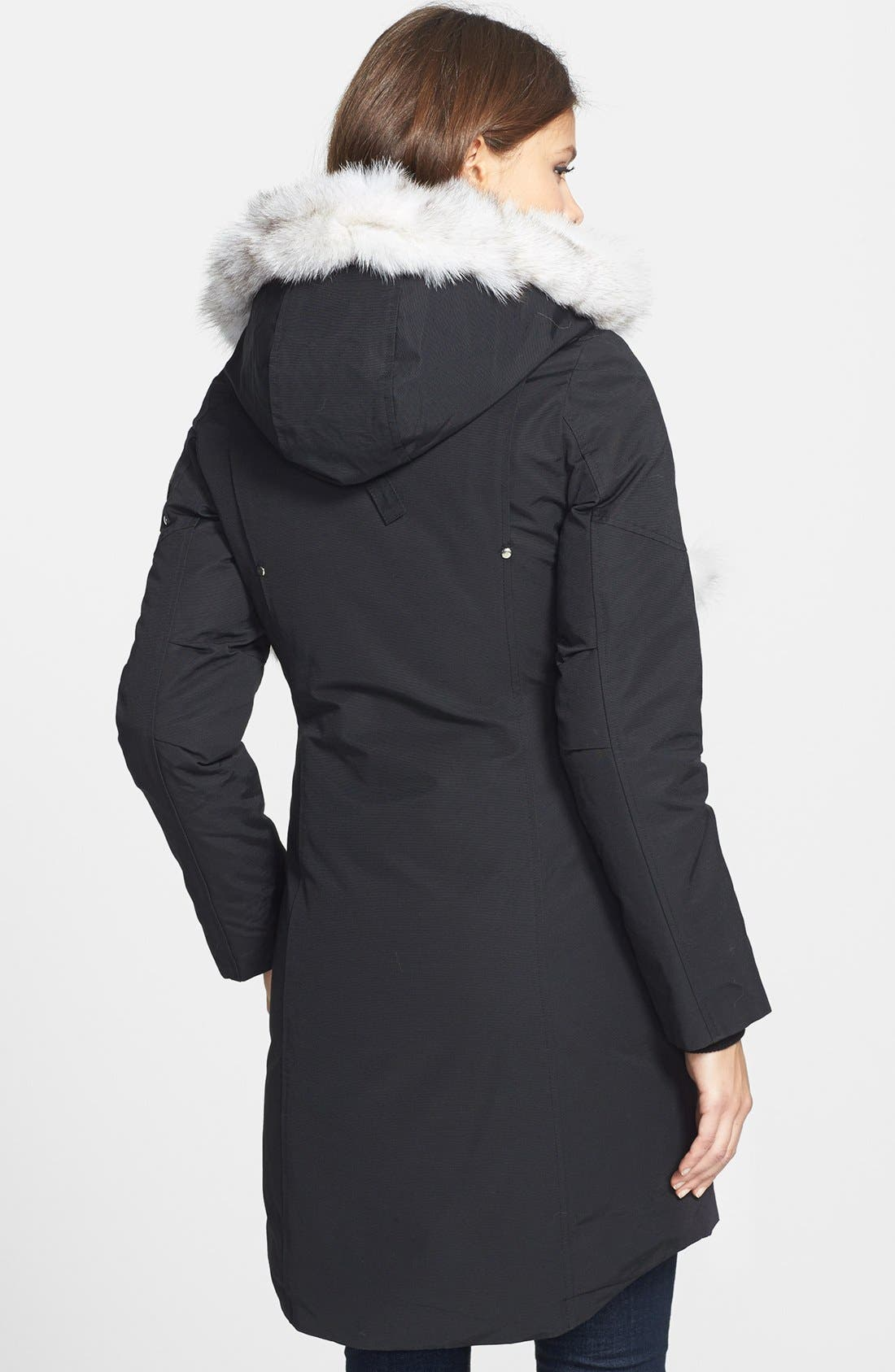 'Stirling' Down Parka with Genuine Fox Fur Trim,                             Alternate thumbnail 13, color,                             BLACK/ WHITE FUR