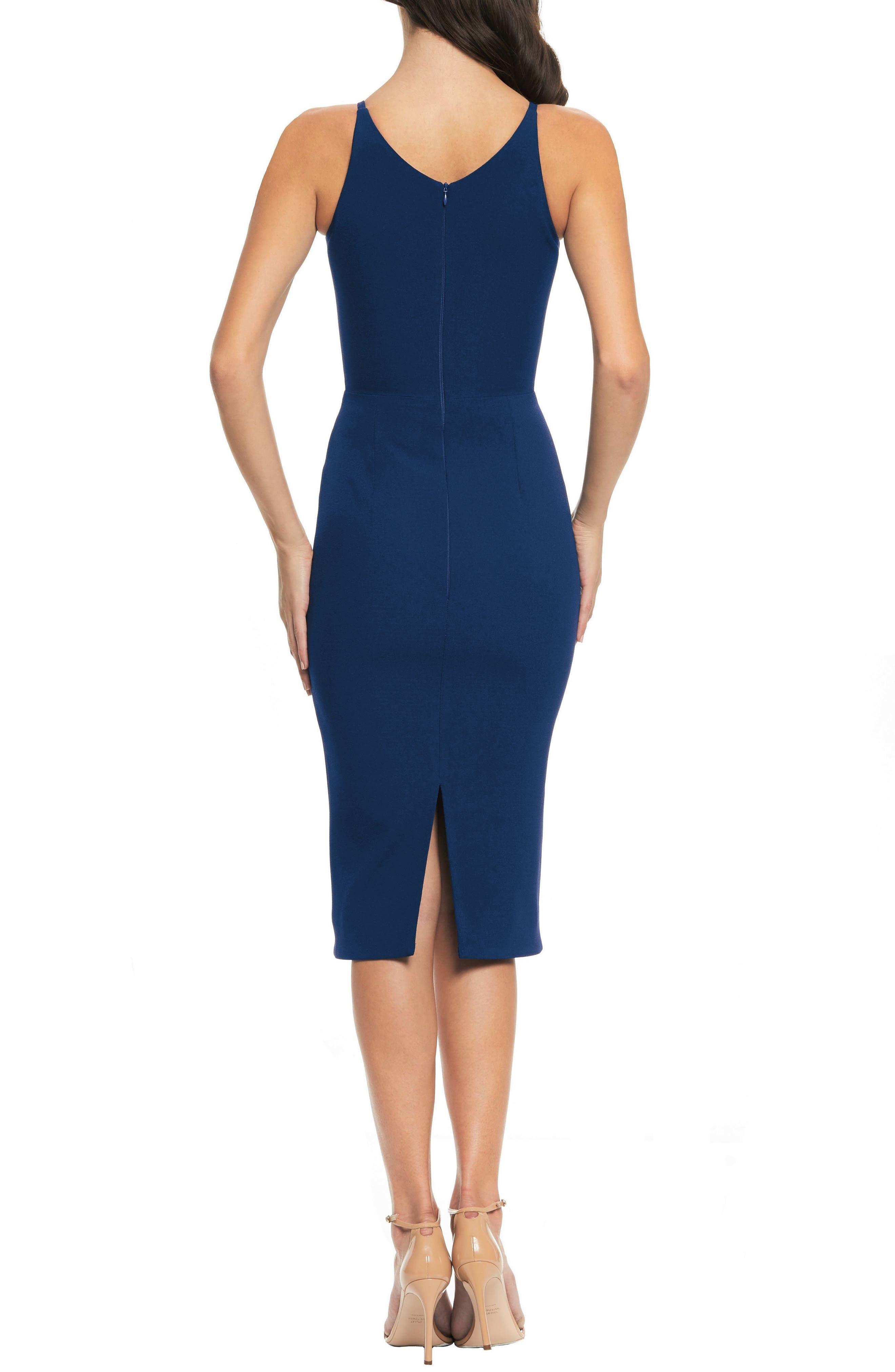 Lyla Crepe Sheath Dress,                             Alternate thumbnail 2, color,                             PACIFIC