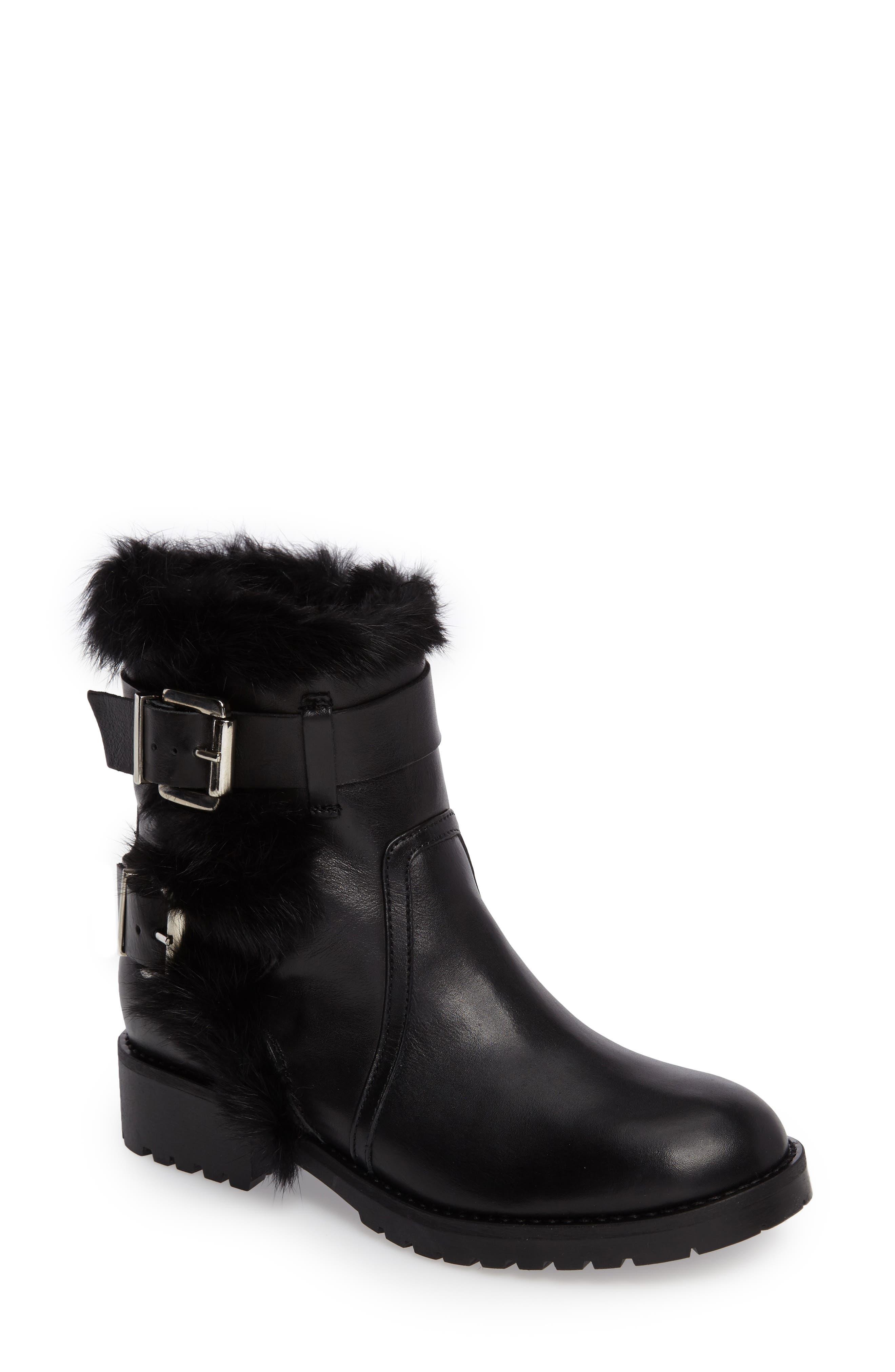 Rustic Genuine Rabbit Fur Cuff Boot,                         Main,                         color, 001