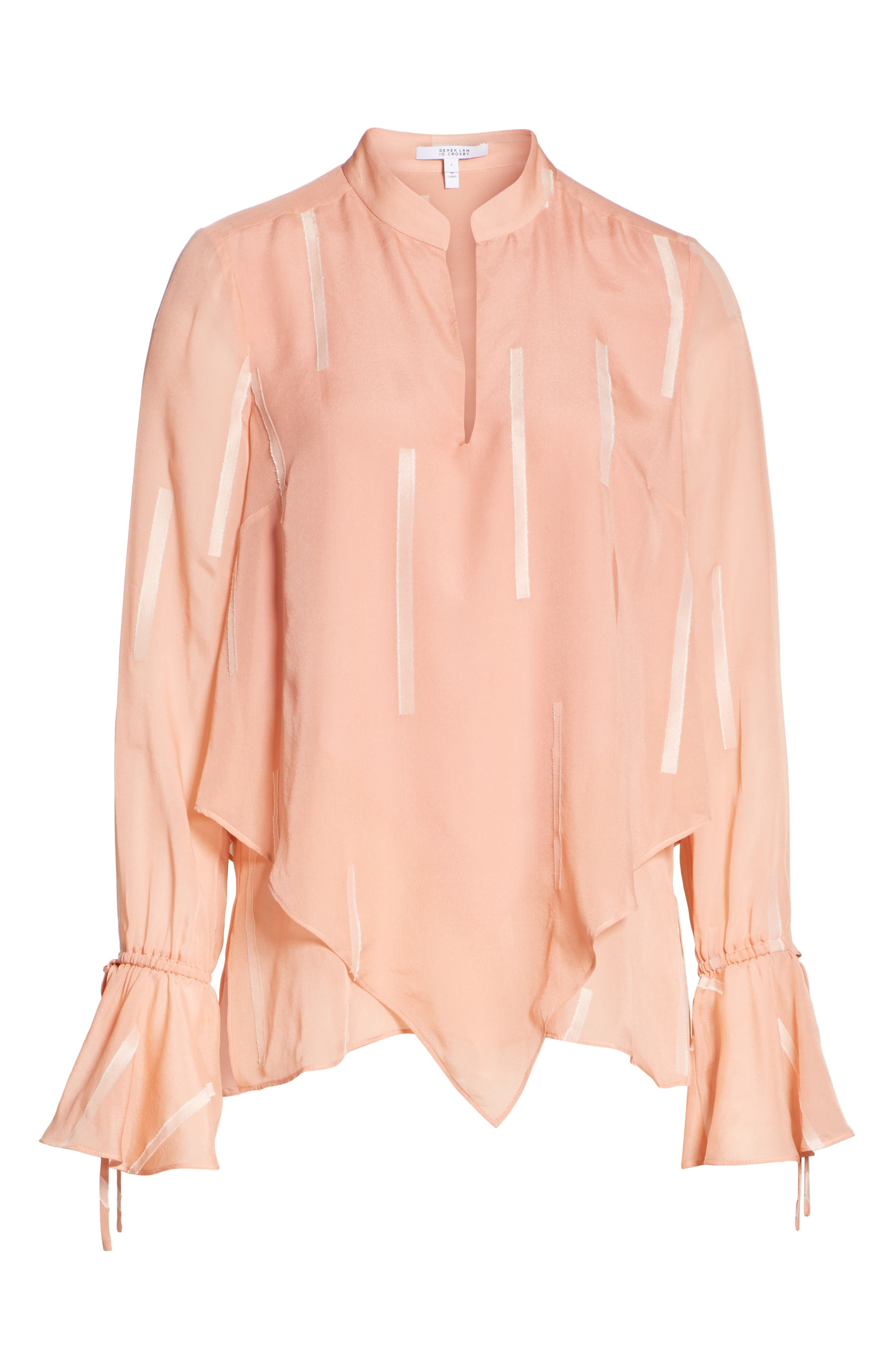 Clipped Stripe Handkerchief Silk Blend Blouse,                             Alternate thumbnail 6, color,                             DUSTY ROSE