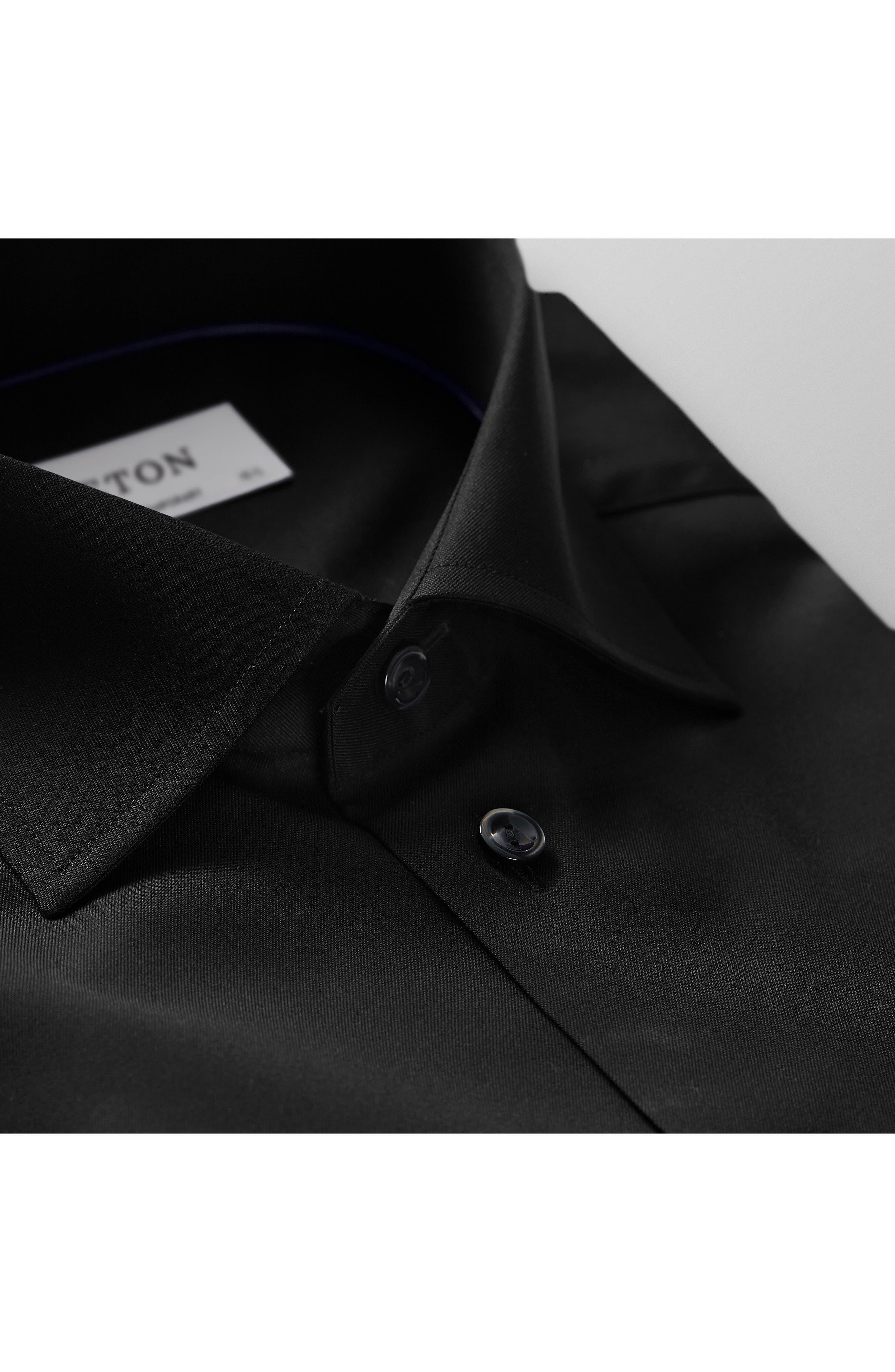 Contemporary Fit Twill Dress Shirt,                             Alternate thumbnail 5, color,                             BLACK