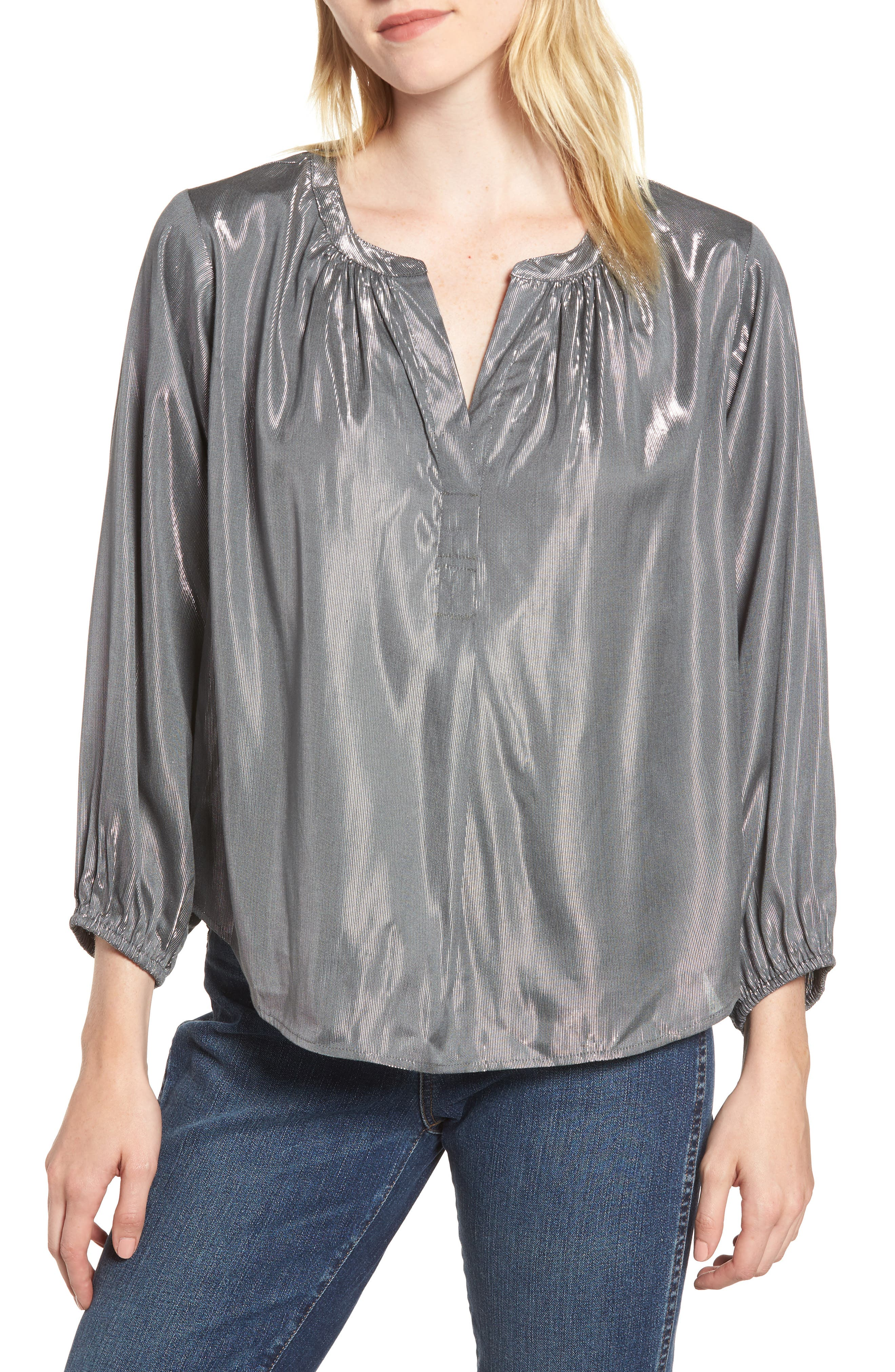 Lamé Henley Blouse,                         Main,                         color, GUNMETAL