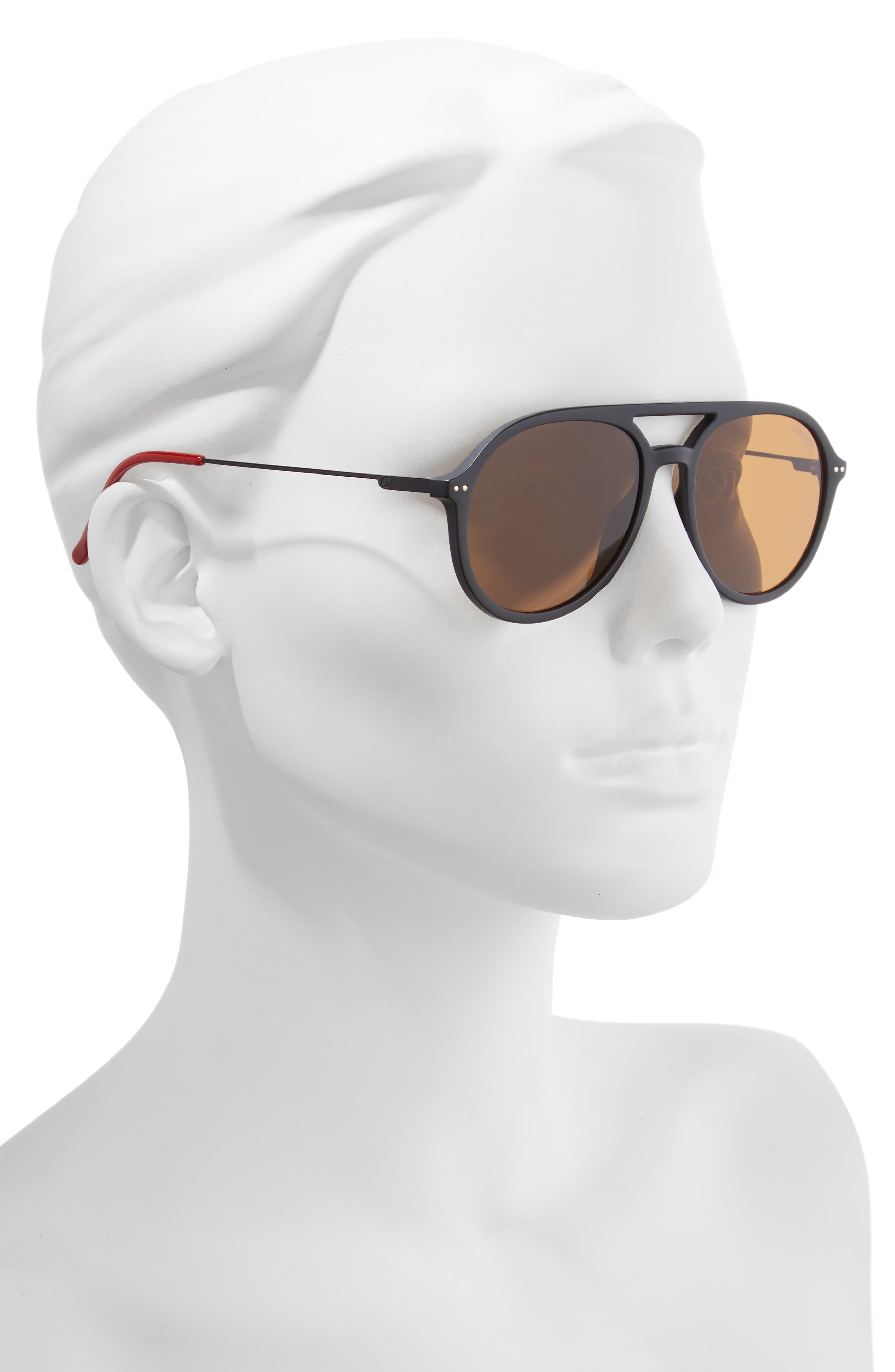 53mm Aviator Sunglasses,                             Alternate thumbnail 2, color,                             MATTE BLACK