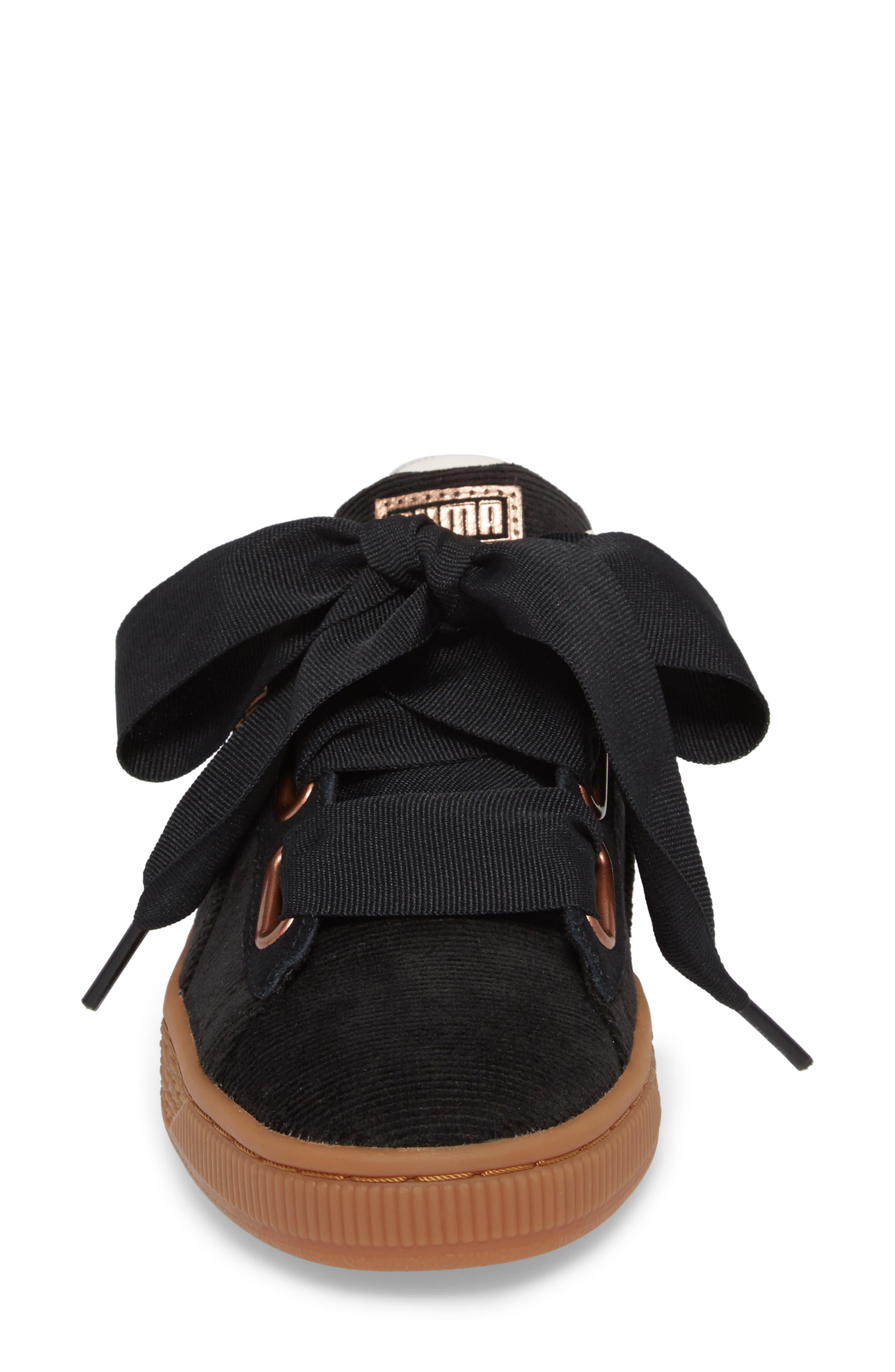 Basket Heart Sneaker,                             Alternate thumbnail 4, color,                             BLACK/ PUMA BLACK