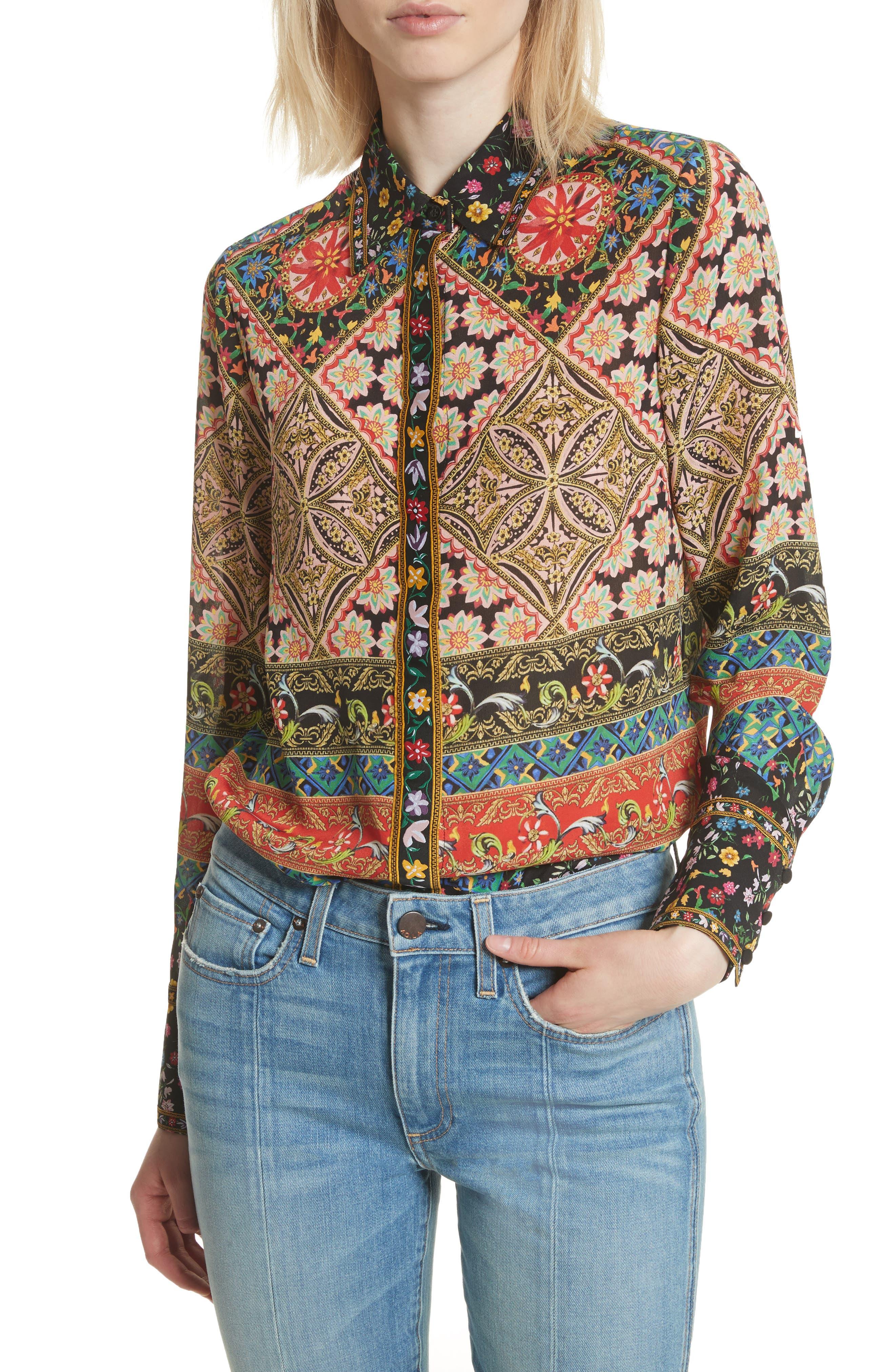 Patchwork Print Silk Shirt,                         Main,                         color, 250