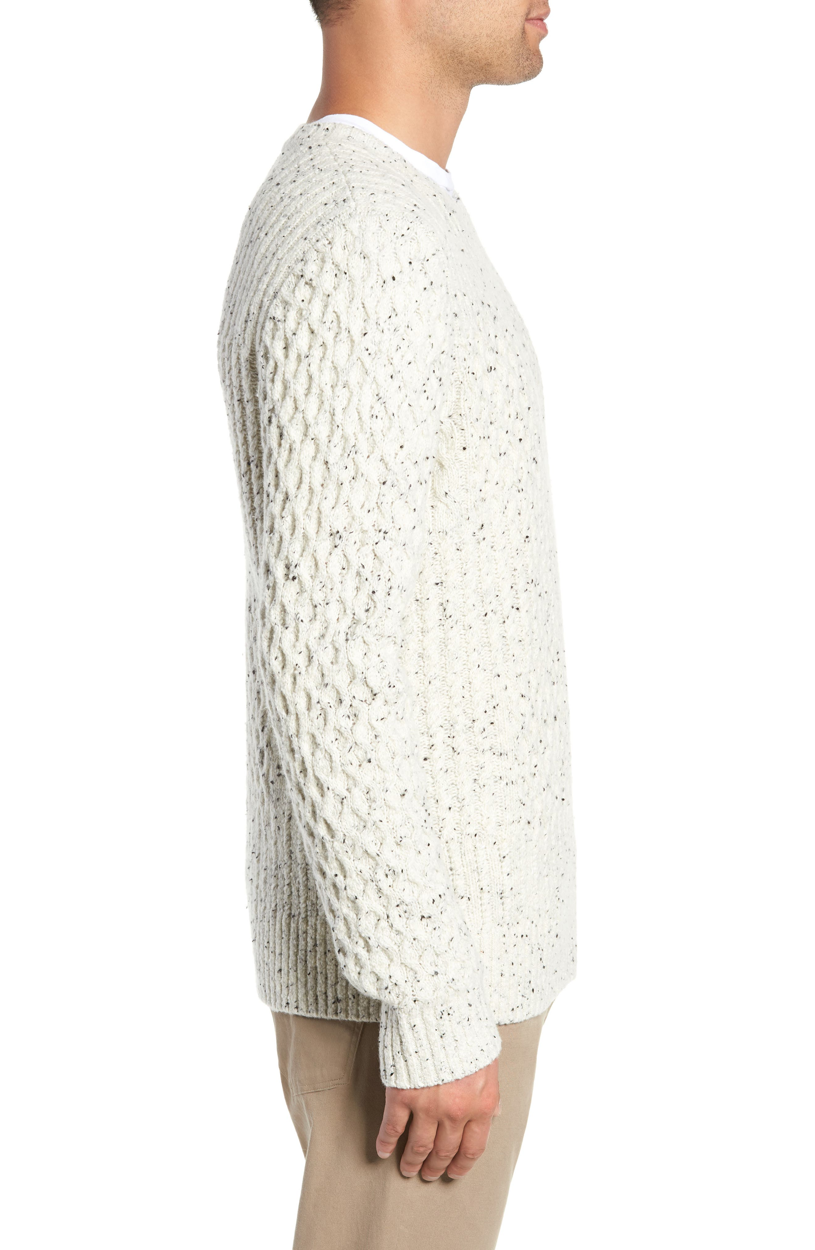 VINCE,                             Cable Knit Sweater,                             Alternate thumbnail 3, color,                             H WHITE