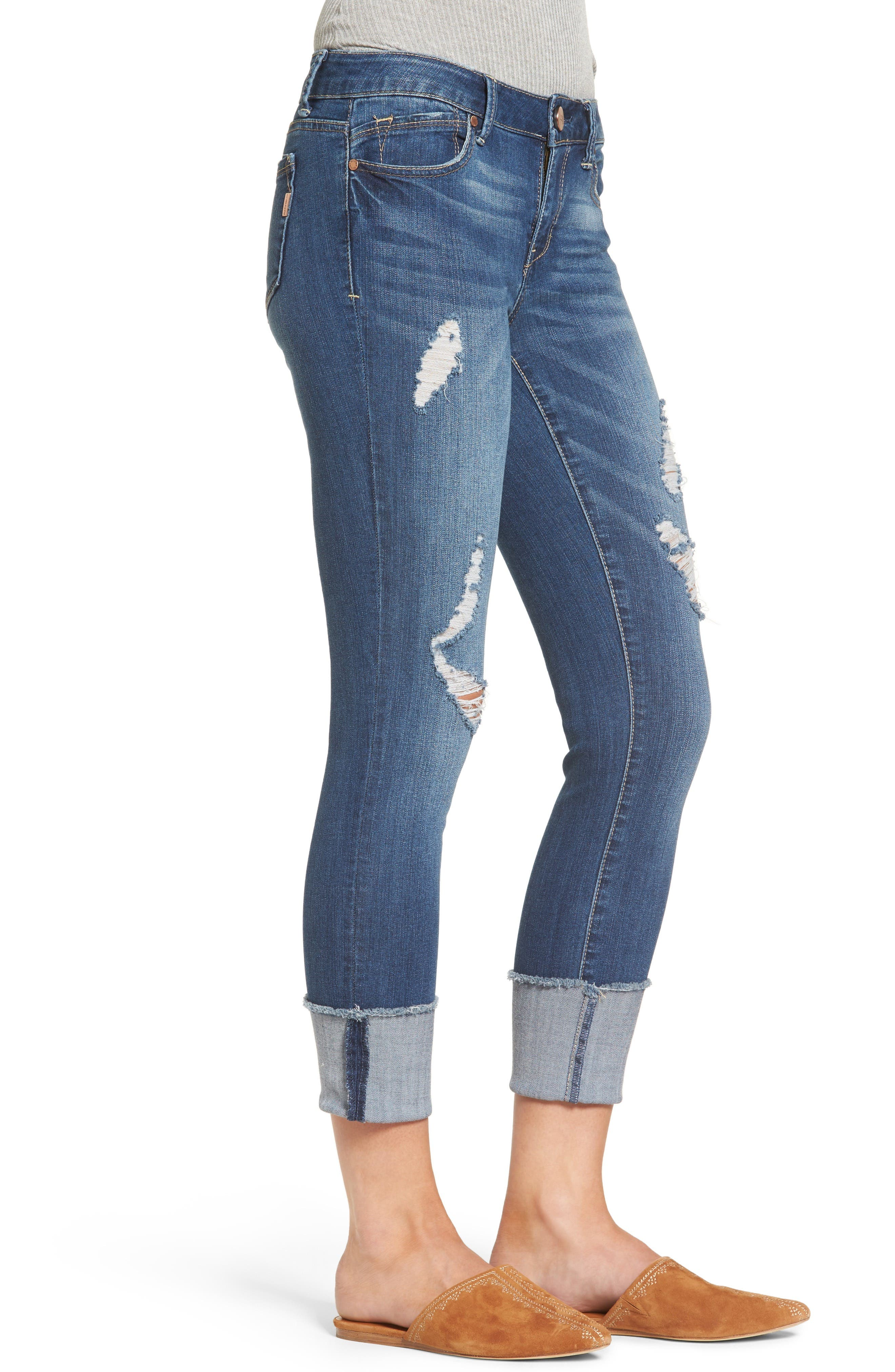 Cuffed Crop Skinny Jeans,                             Alternate thumbnail 3, color,                             IRENE