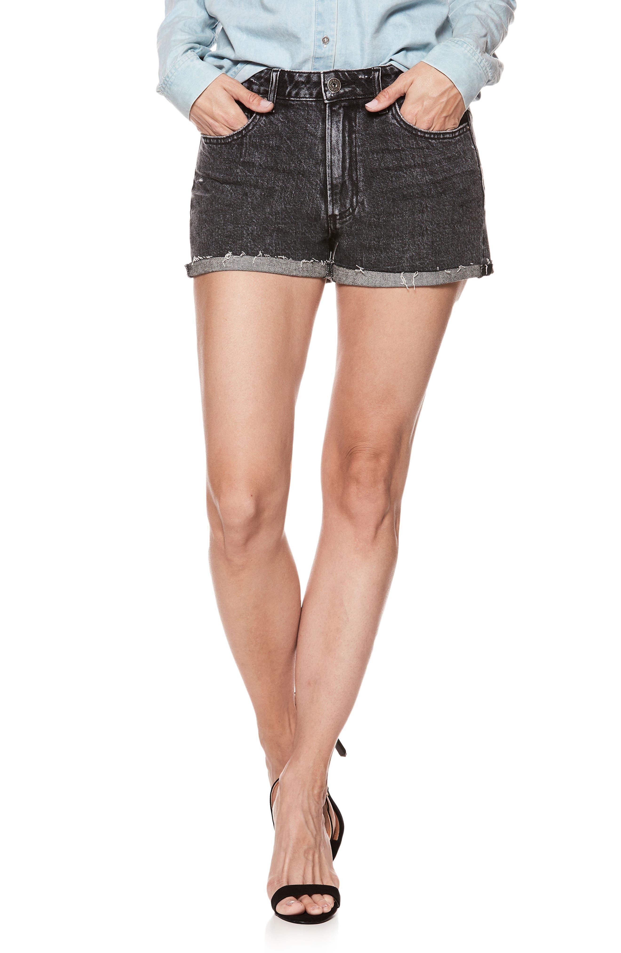 Sarah High Waist Cutoff Denim Shorts,                             Main thumbnail 1, color,                             001