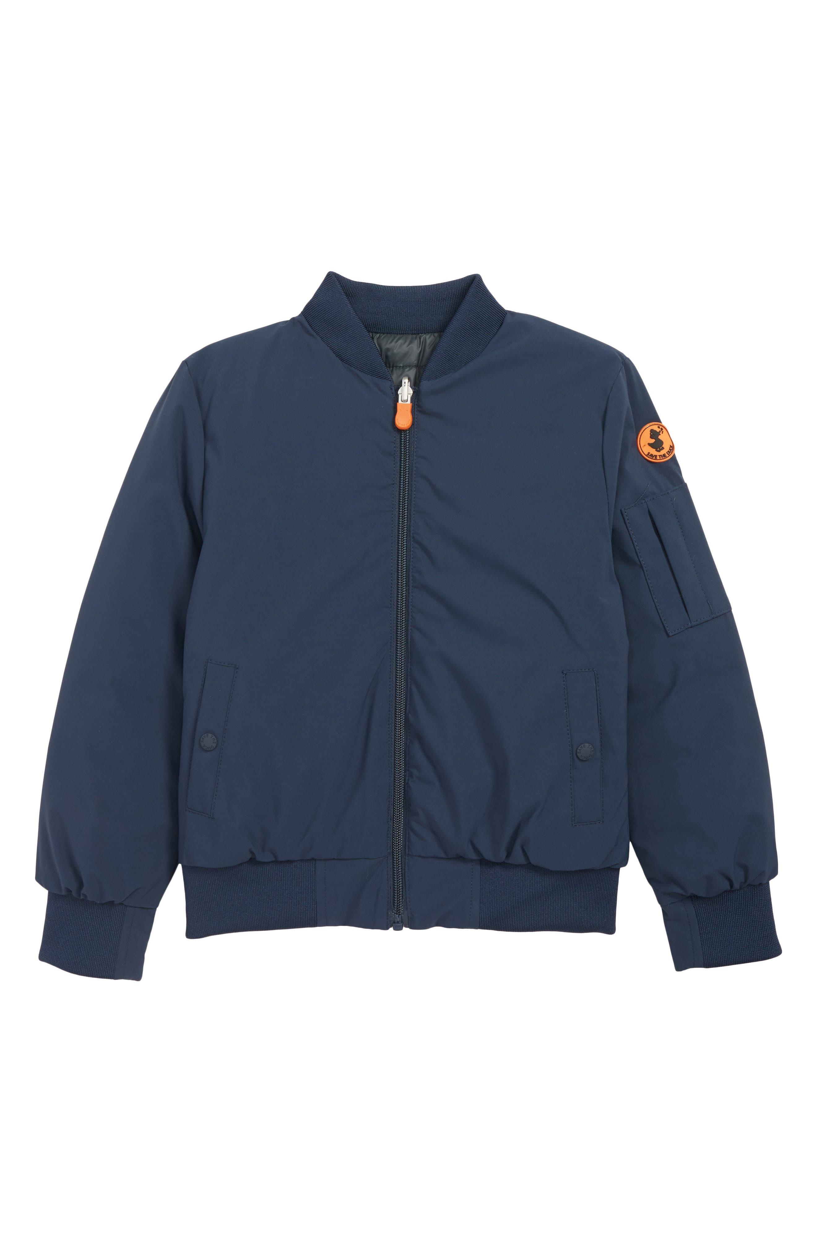 Water Resistant Reversible Bomber Jacket,                         Main,                         color, INDIGO/ BLUE BLACK