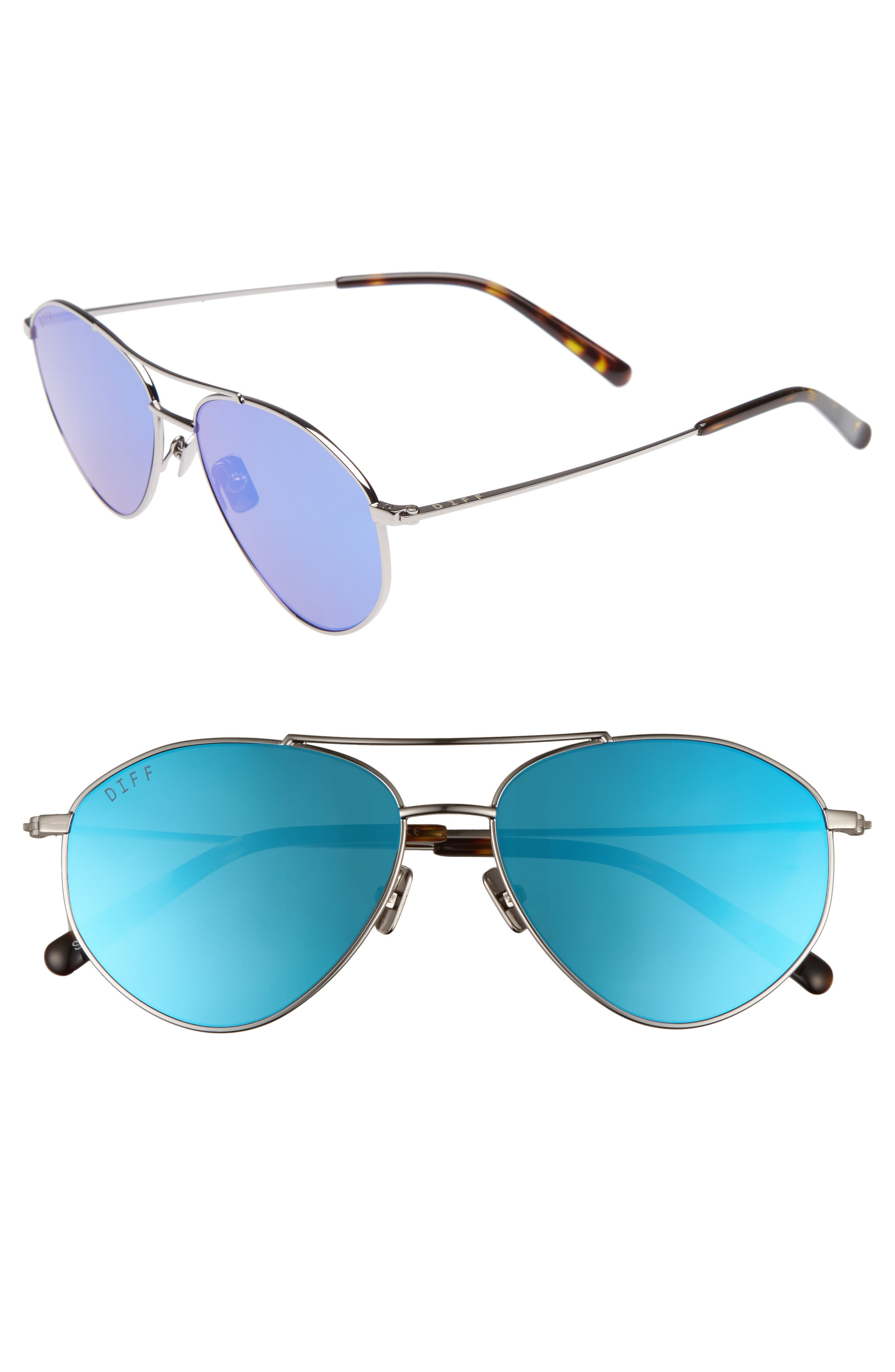 Scout 53mm Aviator Sunglasses,                         Main,                         color, LIGHT GUNMETAL/ ICE BLUE