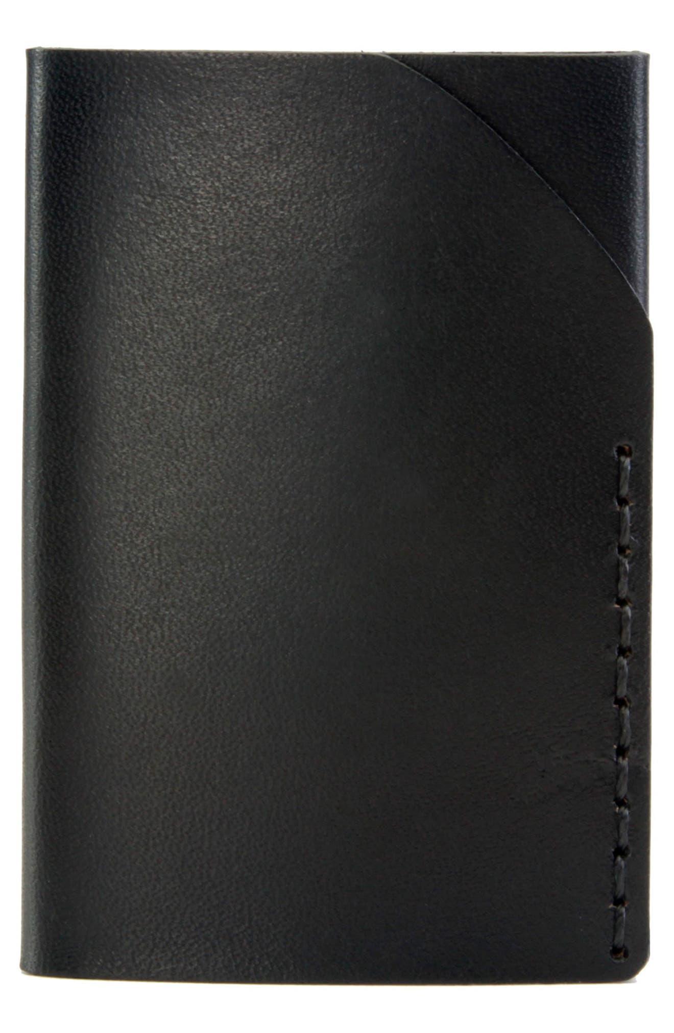 No. 2 Leather Card Case,                             Main thumbnail 1, color,                             JET