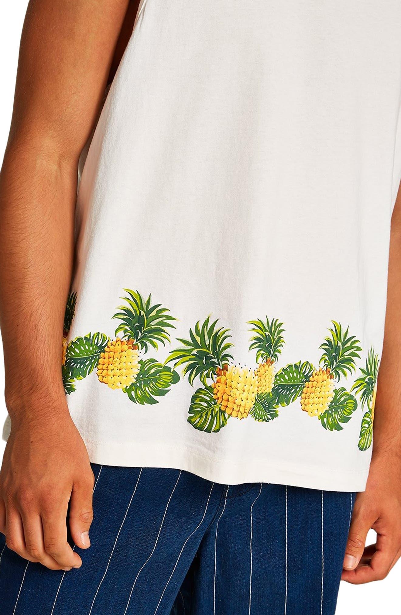 Boxy Fit Pineapple Print Tank,                             Alternate thumbnail 4, color,                             CREAM MULTI