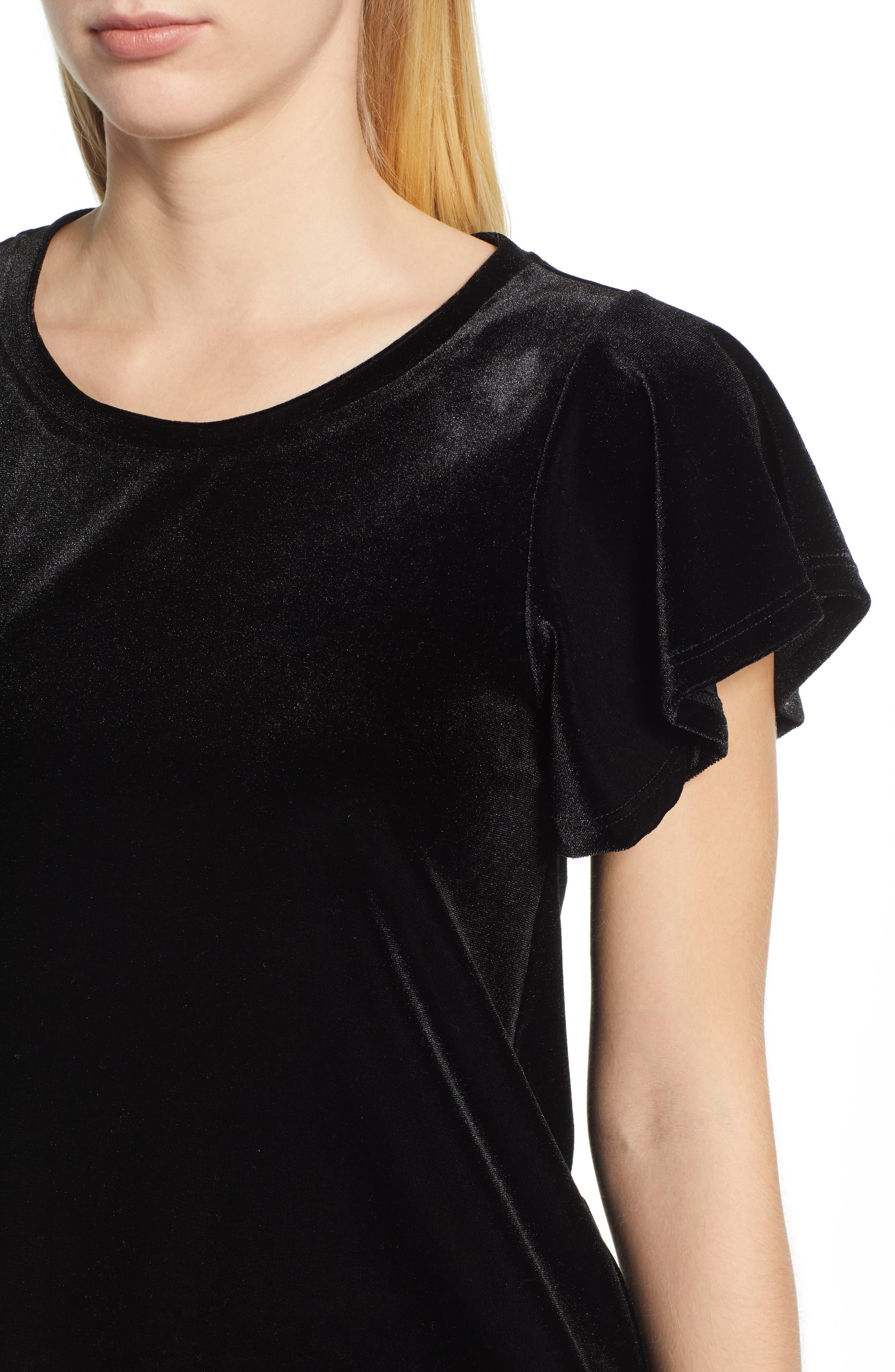 x Glam Squad Velvet Flutter Sleeve Shirt,                             Alternate thumbnail 5, color,                             BLACK