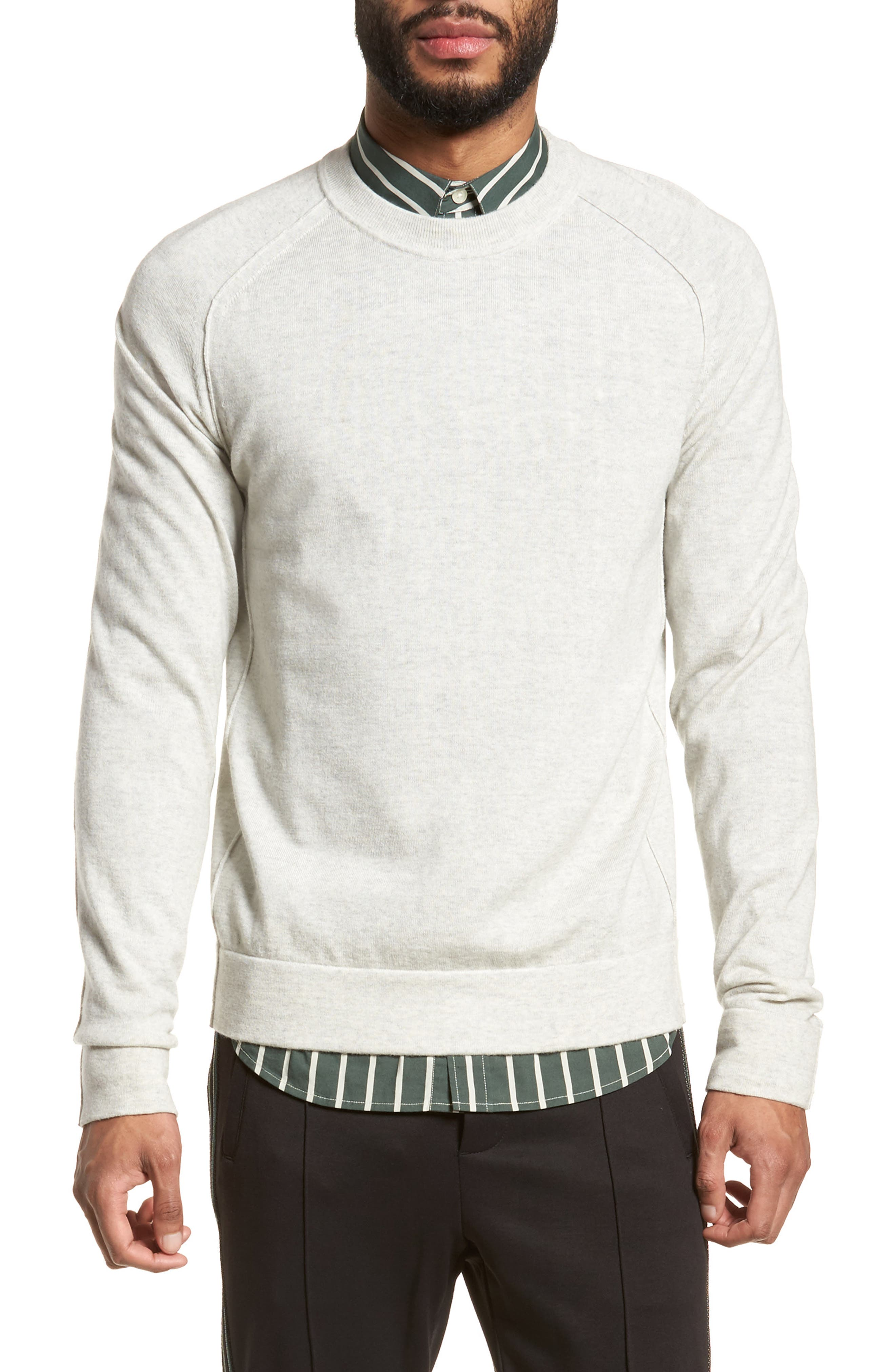 Raw Seam Merino Wool Sweater,                         Main,                         color, 100