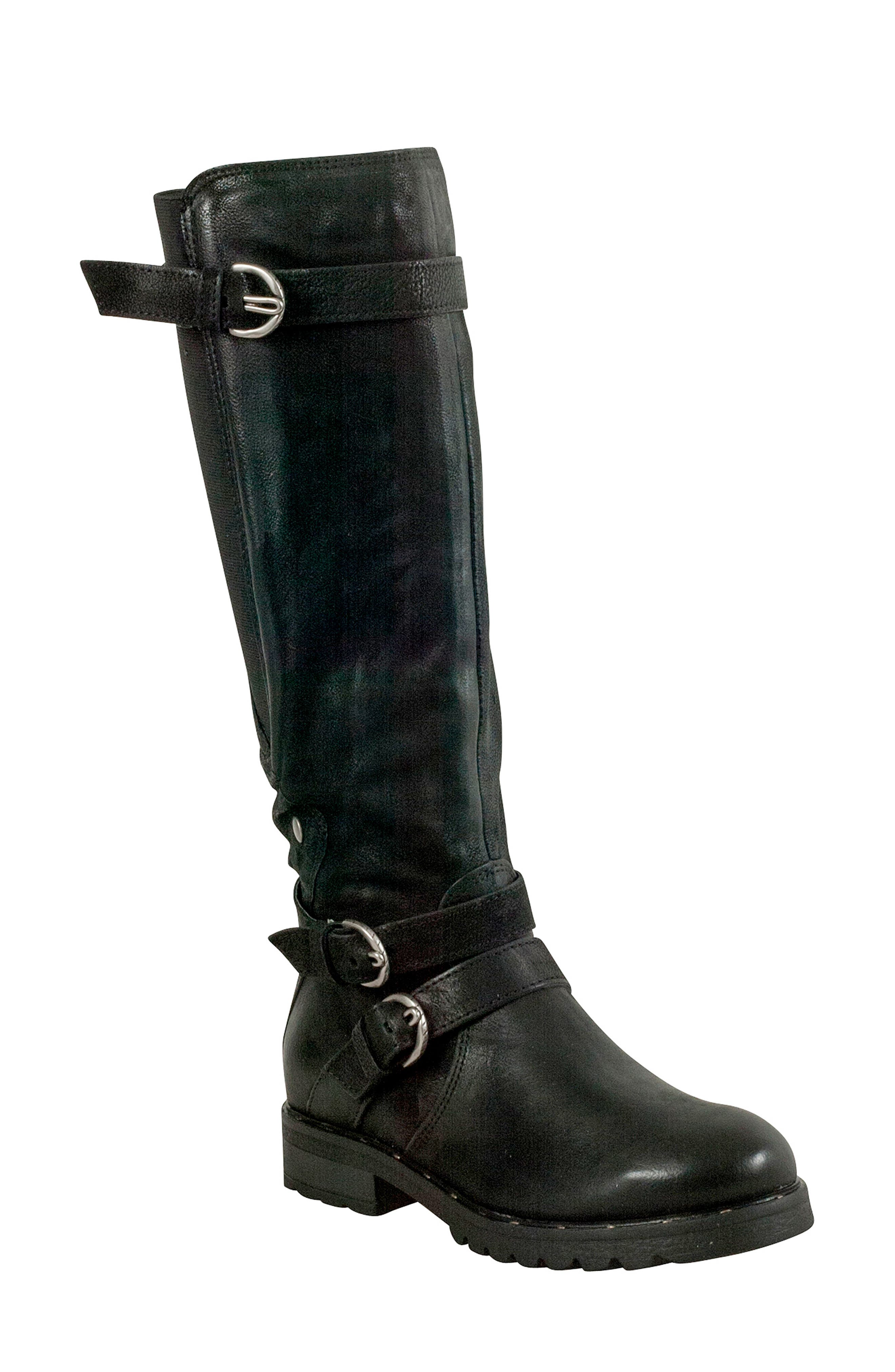 Prim Knee High Boot,                             Main thumbnail 1, color,                             BLACK LEATHER