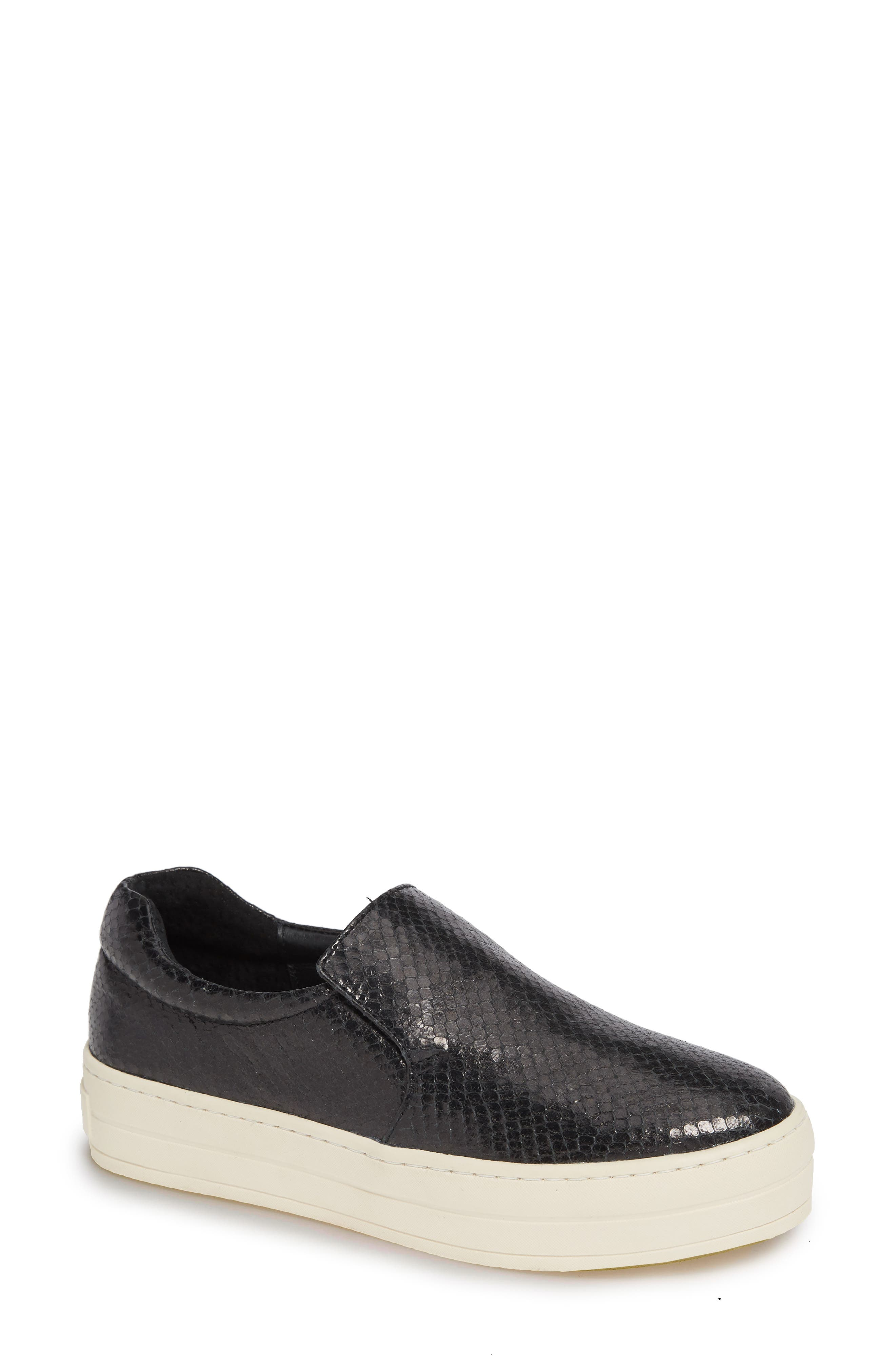 JSLIDES Harry Slip-On Sneaker in Black Embossed Leather