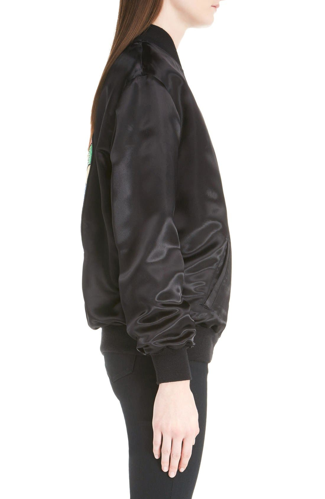 'Teddy' Oversize Patch Satin Bomber Jacket,                             Alternate thumbnail 3, color,                             001