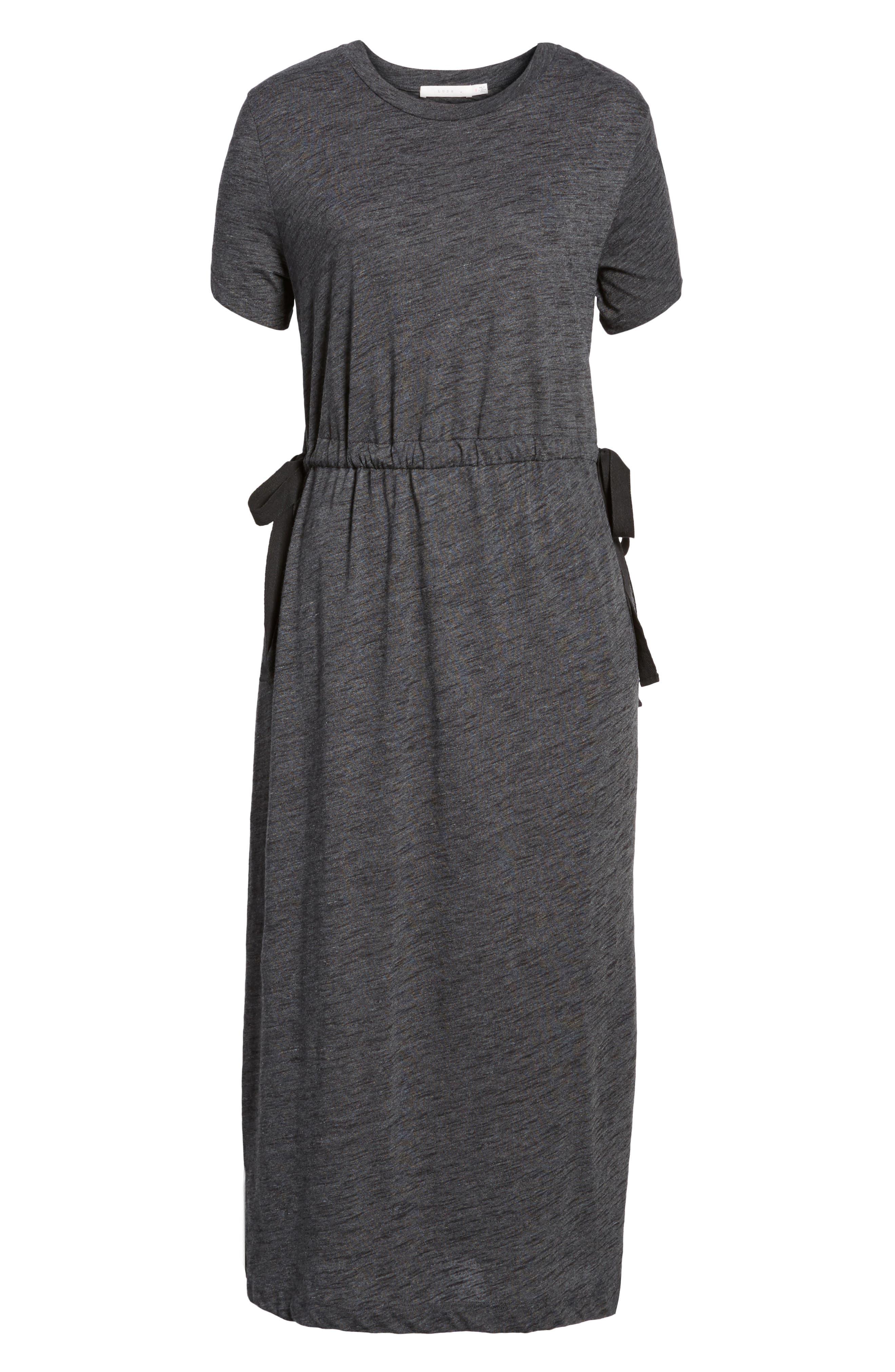 Side Tie Midi T-Shirt Dress,                             Alternate thumbnail 6, color,                             020