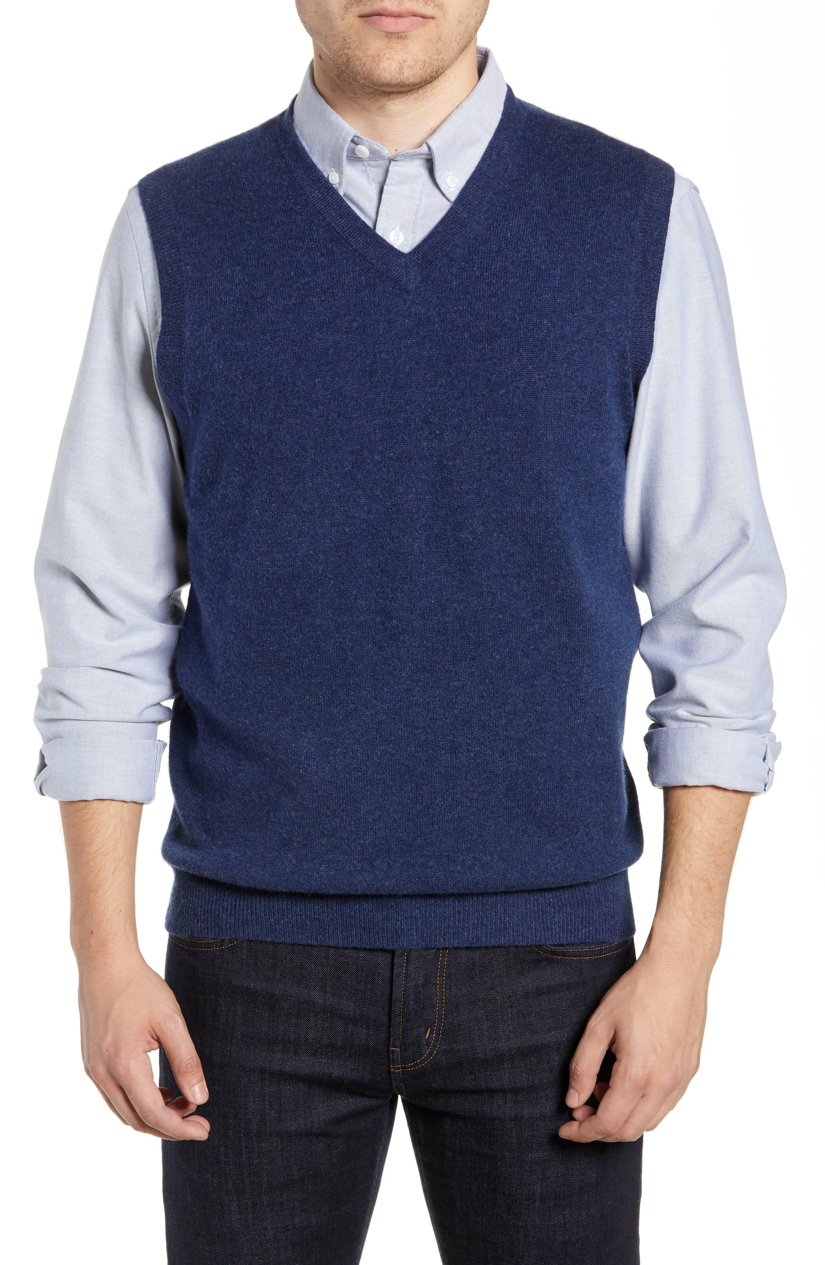Cashmere V-Neck Sweater Vest,                             Main thumbnail 1, color,                             BLUE ESTATE HEATHER
