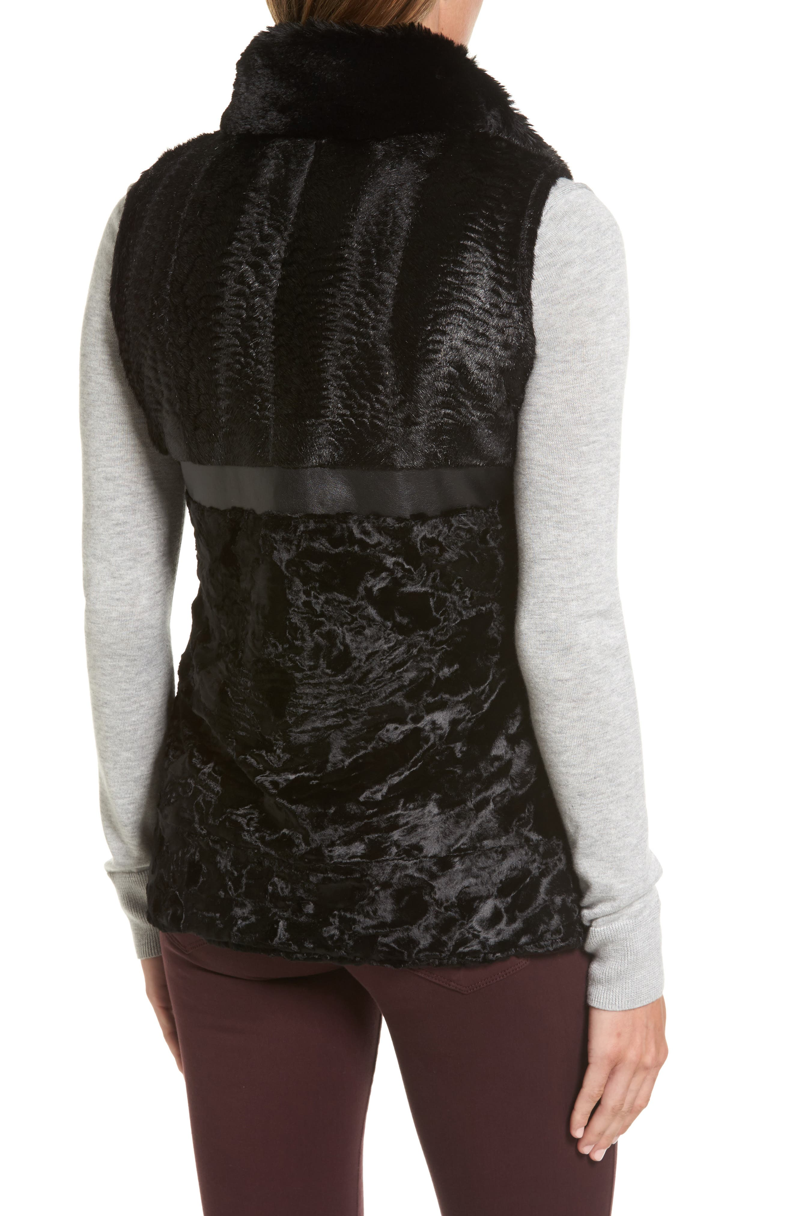 Reversible Faux Fur & Faux Leather Vest,                             Alternate thumbnail 3, color,                             019