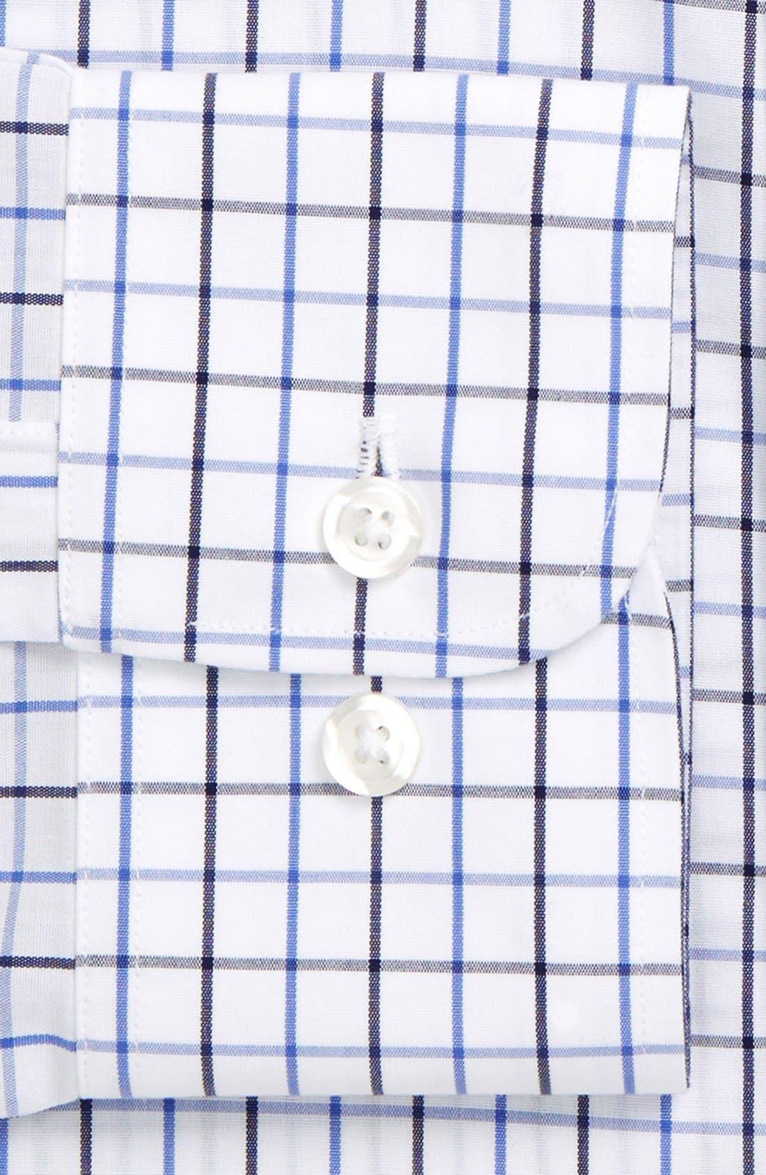 Slim Fit Wrinkle Free Check Dress Shirt,                             Alternate thumbnail 4, color,                             WHITE