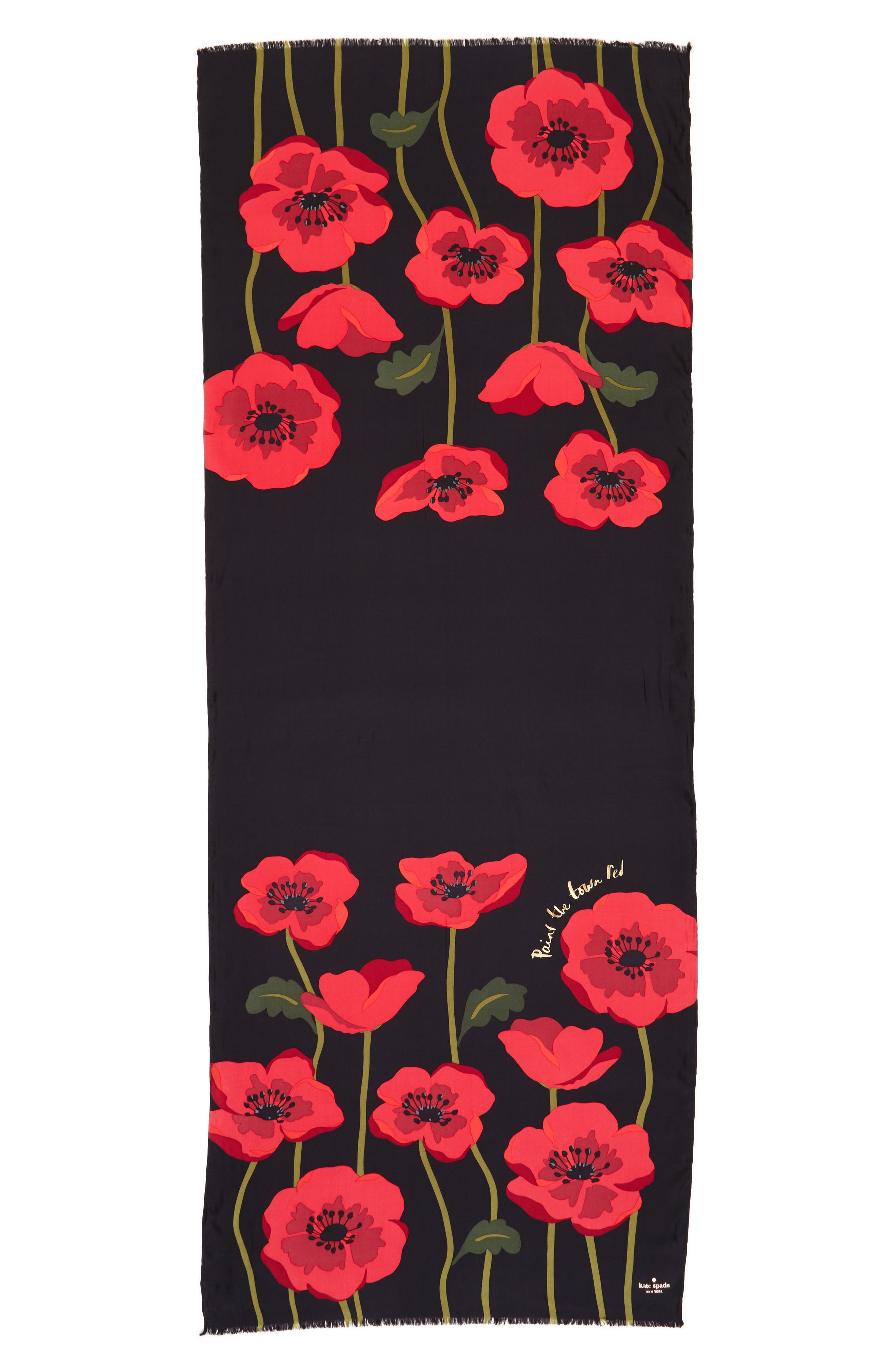 growing poppies silk scarf,                             Alternate thumbnail 2, color,