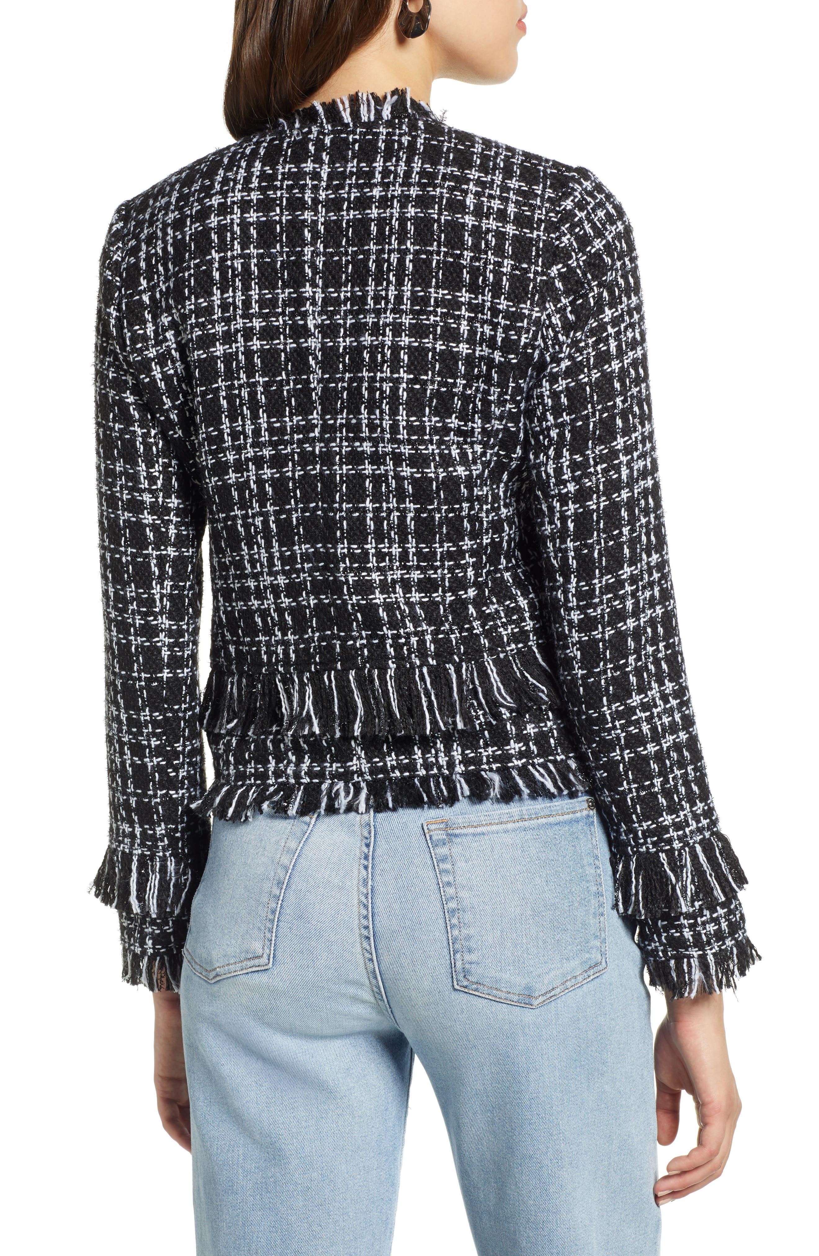 Tweed Jacket,                             Alternate thumbnail 2, color,                             BLACK- WHITE TWEED