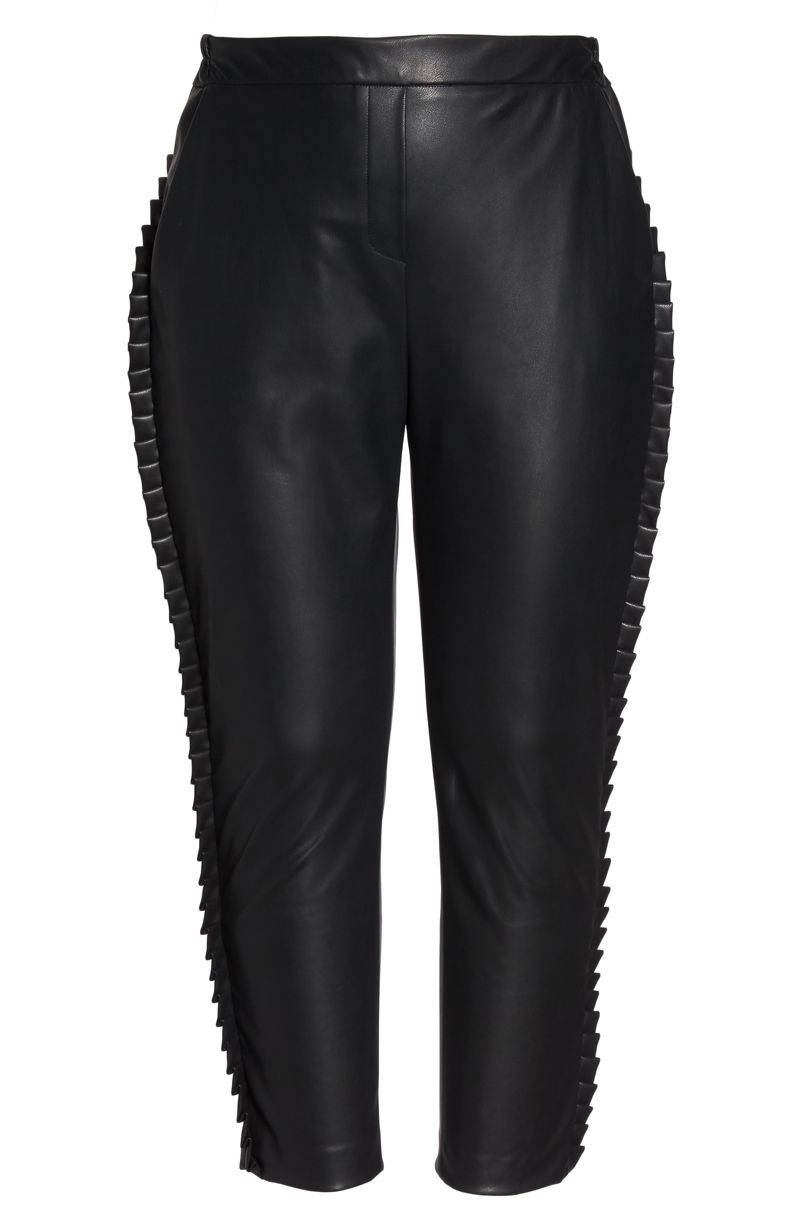 Frill Trim Faux Leather Pants,                             Alternate thumbnail 6, color,