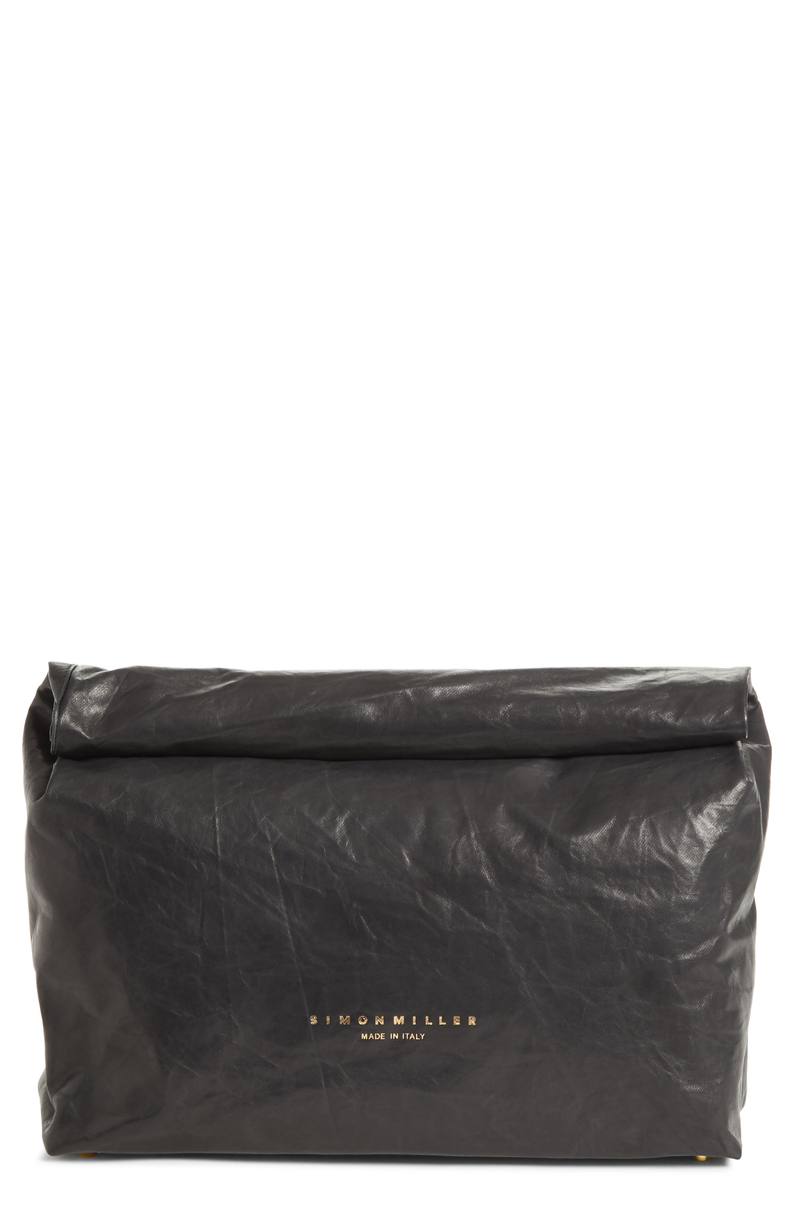 Lunchbag Leather Roll Top Clutch,                             Main thumbnail 1, color,                             BLACK