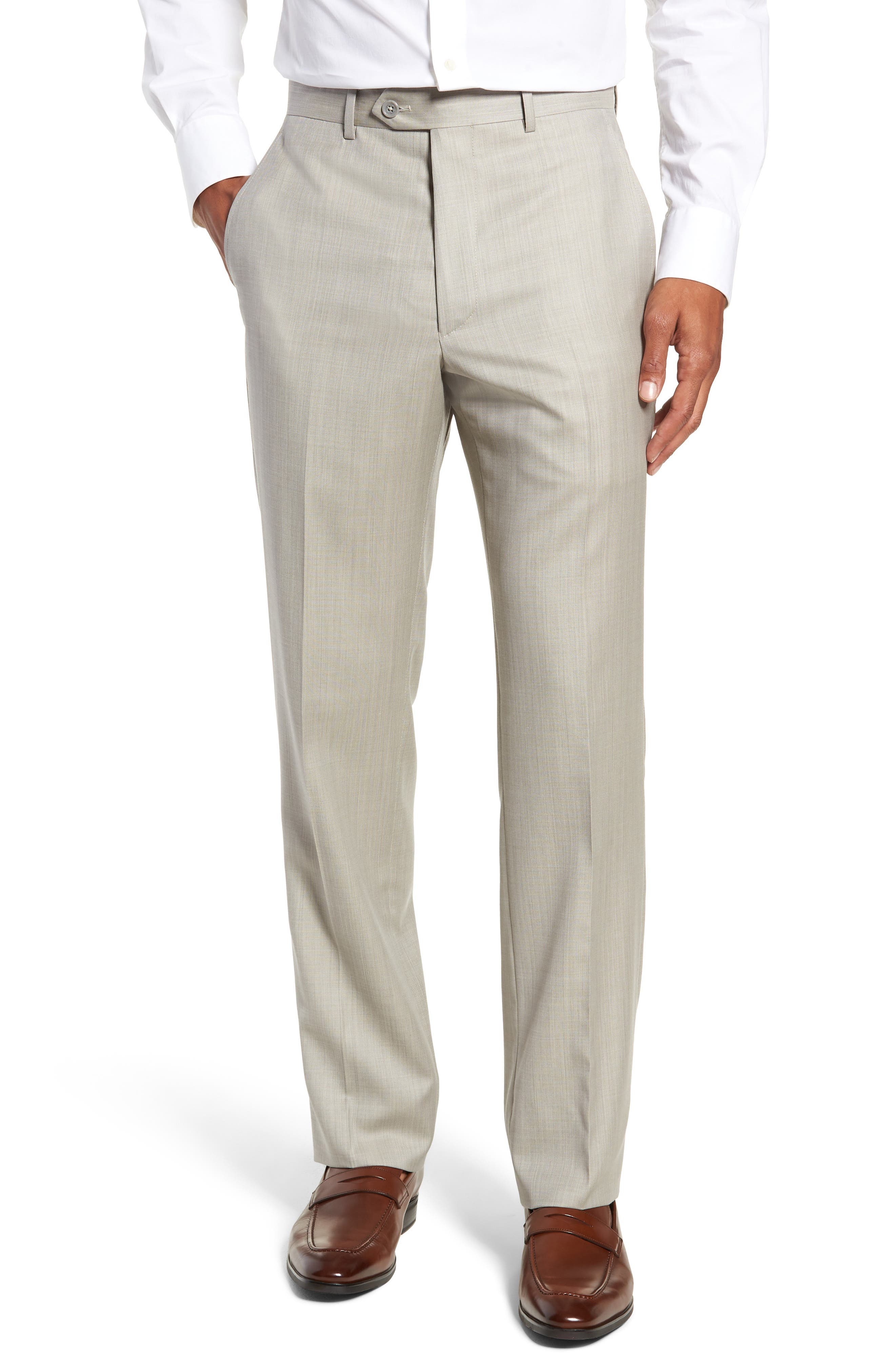 Flat Front Sharkskin Wool Trousers,                             Main thumbnail 1, color,                             SAND