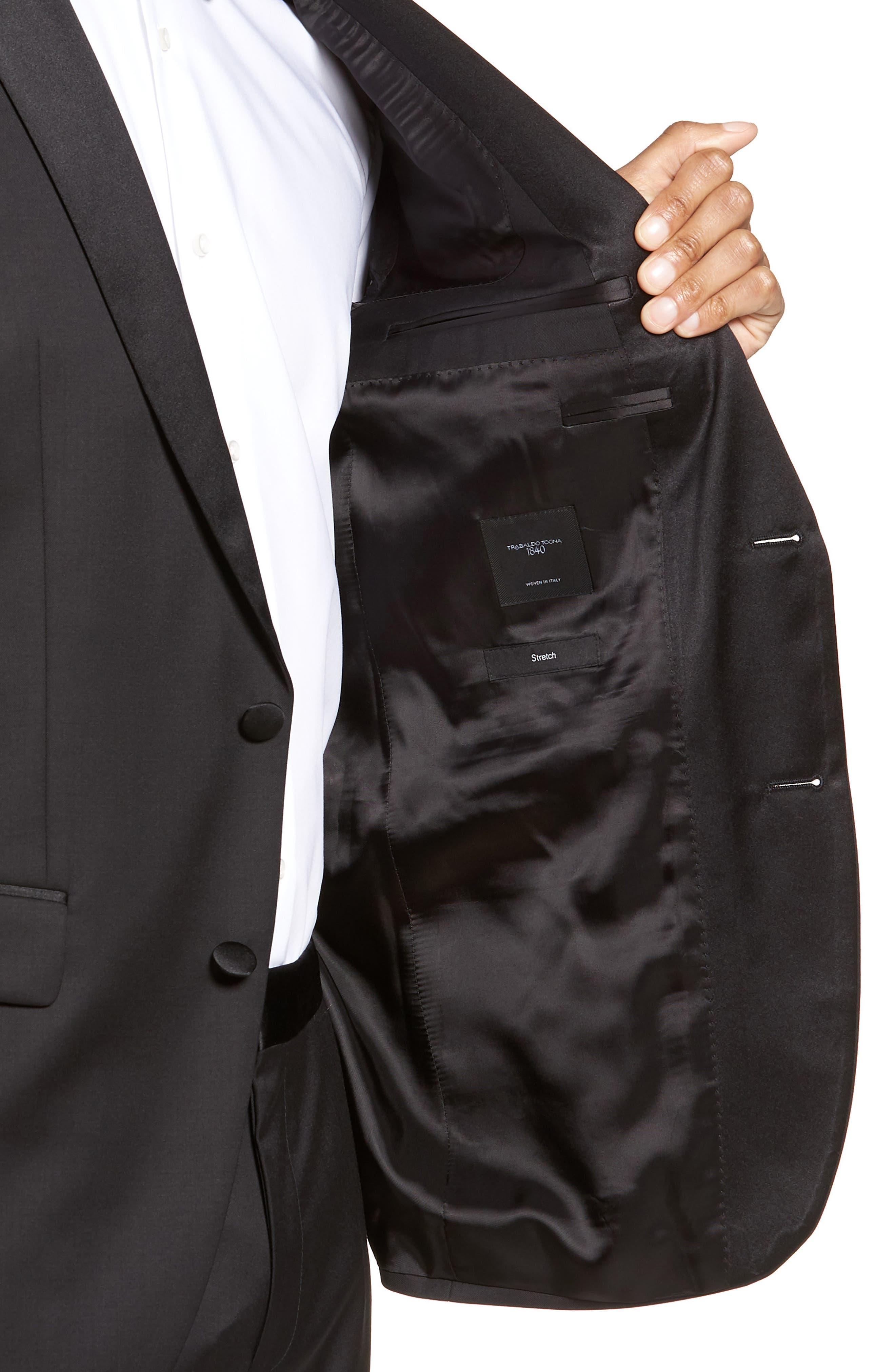 Halven/Gentry Trim Fit Wool Tuxedo,                             Alternate thumbnail 4, color,                             BLACK
