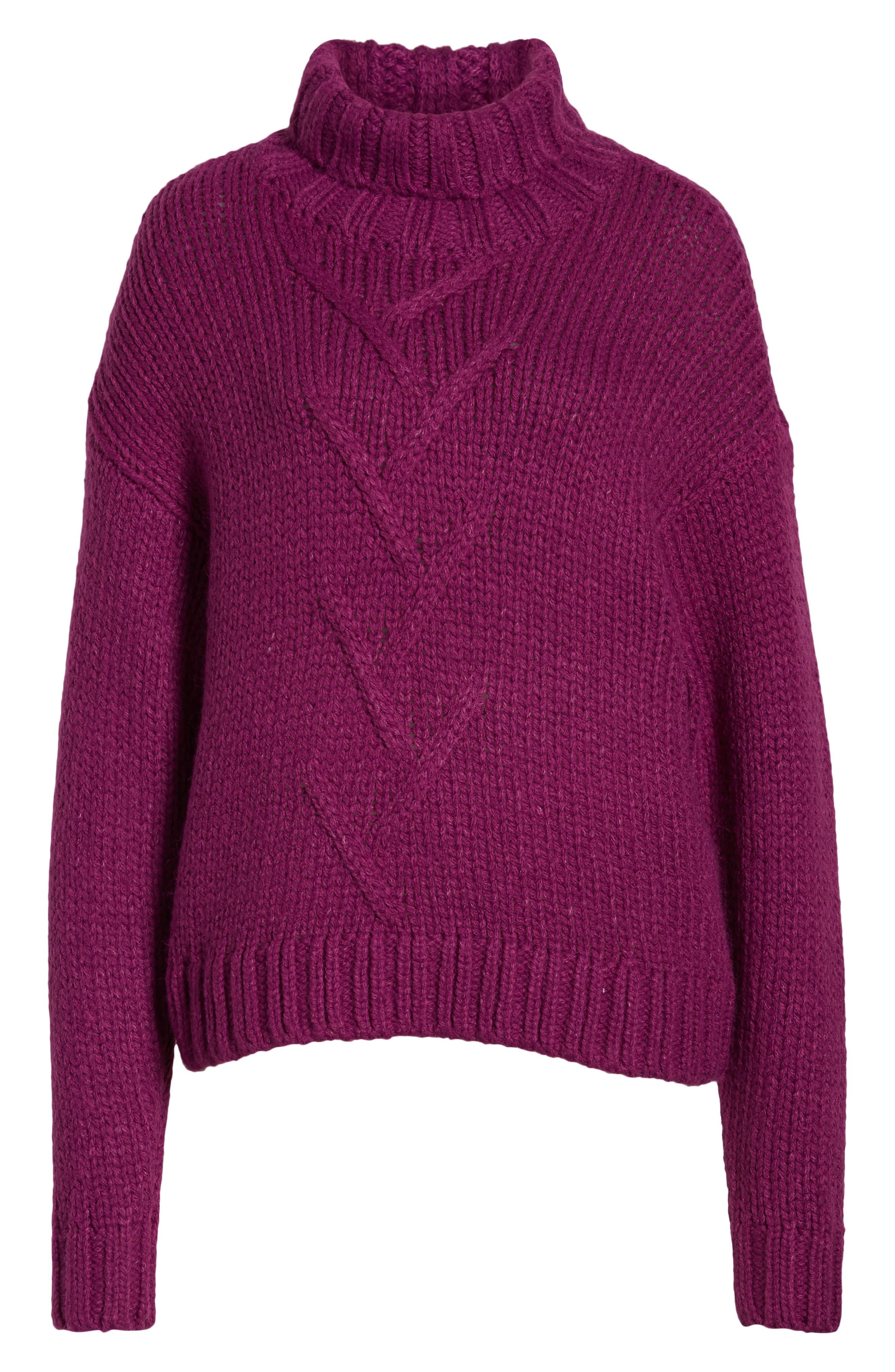 Kira Turtleneck Sweater,                             Alternate thumbnail 6, color,                             HOLLYHOCK