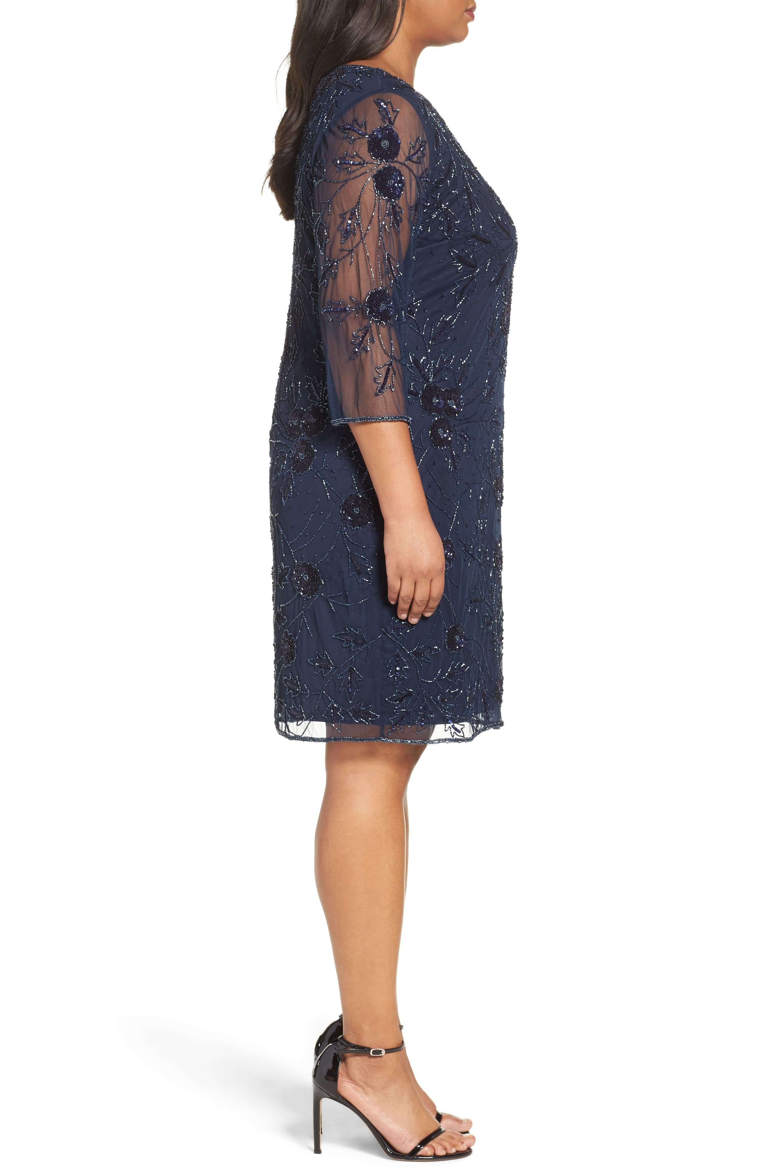 Embroidered Cocktail Dress,                             Alternate thumbnail 3, color,