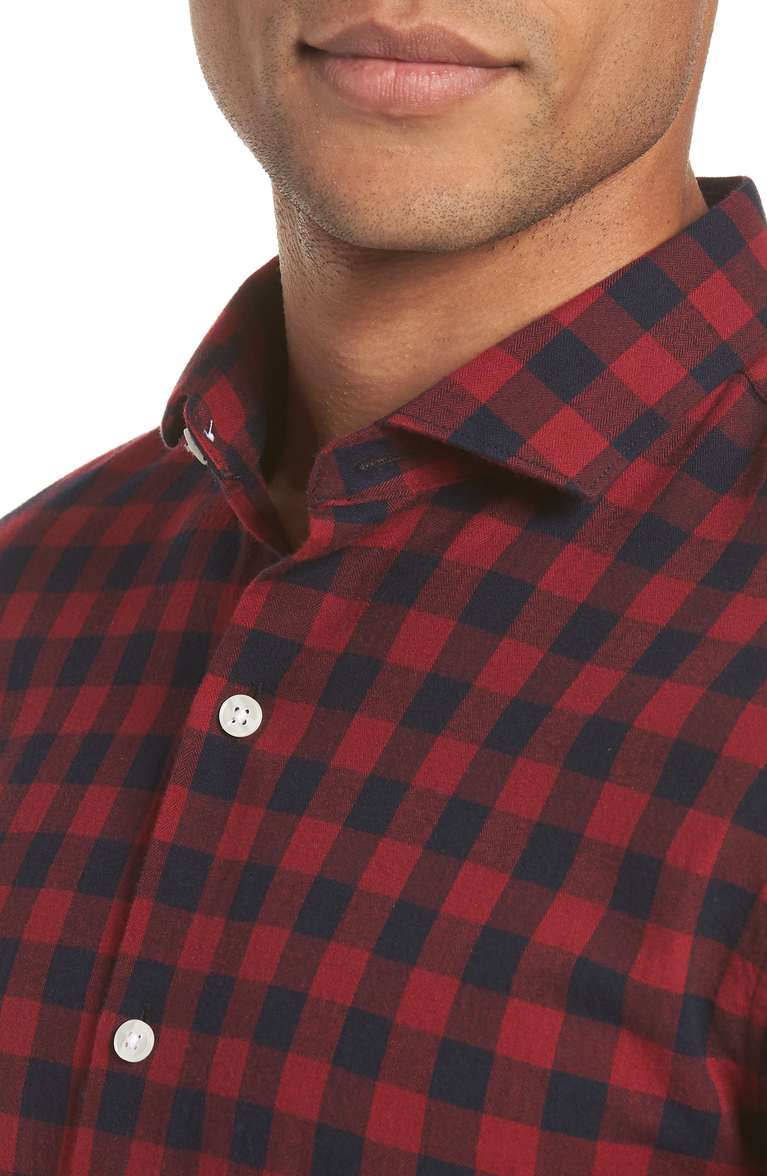 Unbutton Down Slim Fit Sport Shirt,                             Alternate thumbnail 4, color,                             GARNET