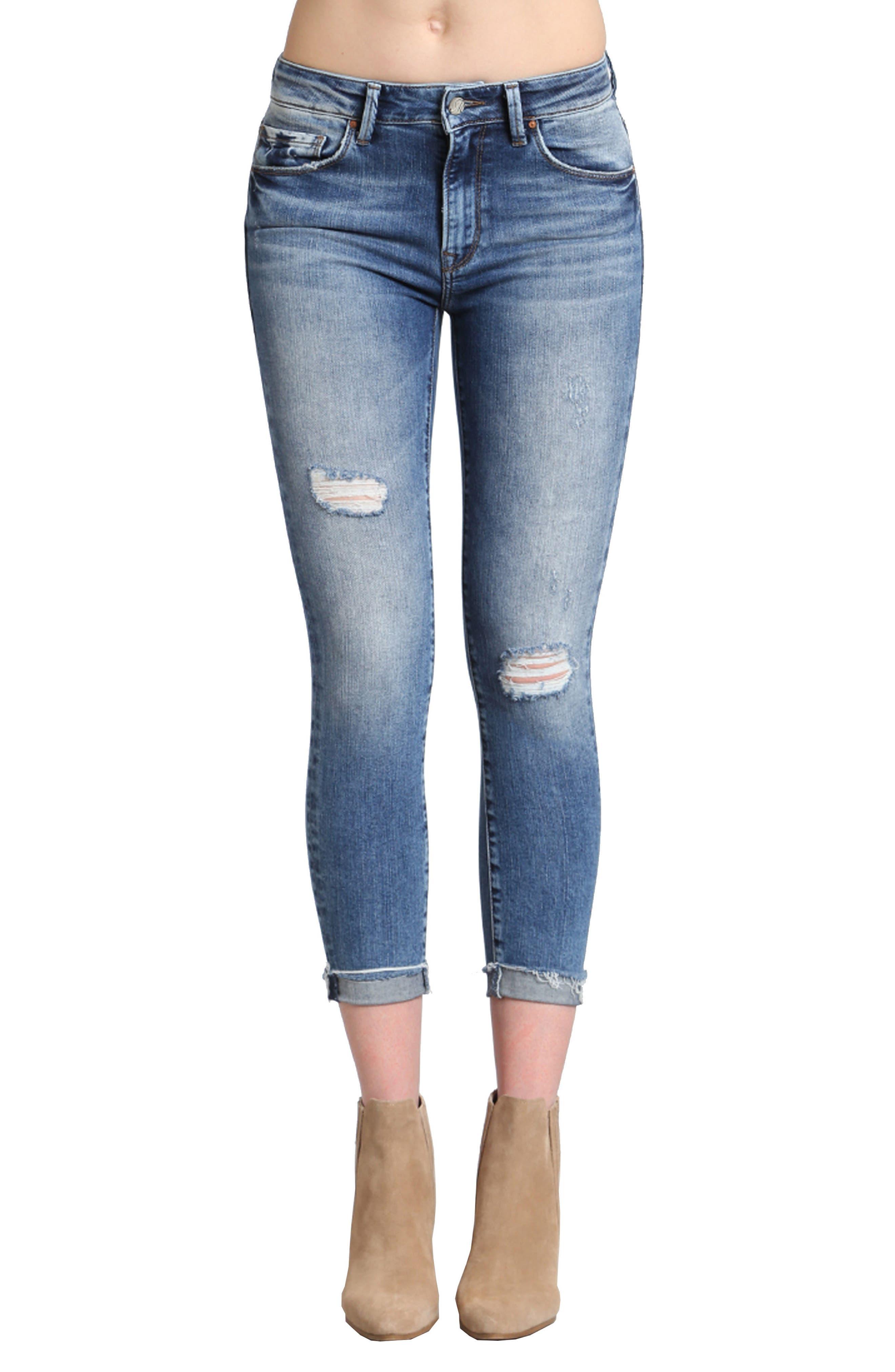 Tess Ripped Skinny Jeans,                             Main thumbnail 1, color,                             MID INDIGO VINTAGE