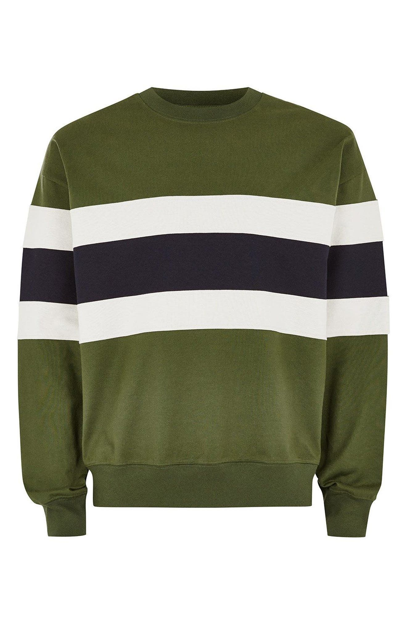 Colorblock Stripe Sweatshirt,                             Alternate thumbnail 6, color,                             330
