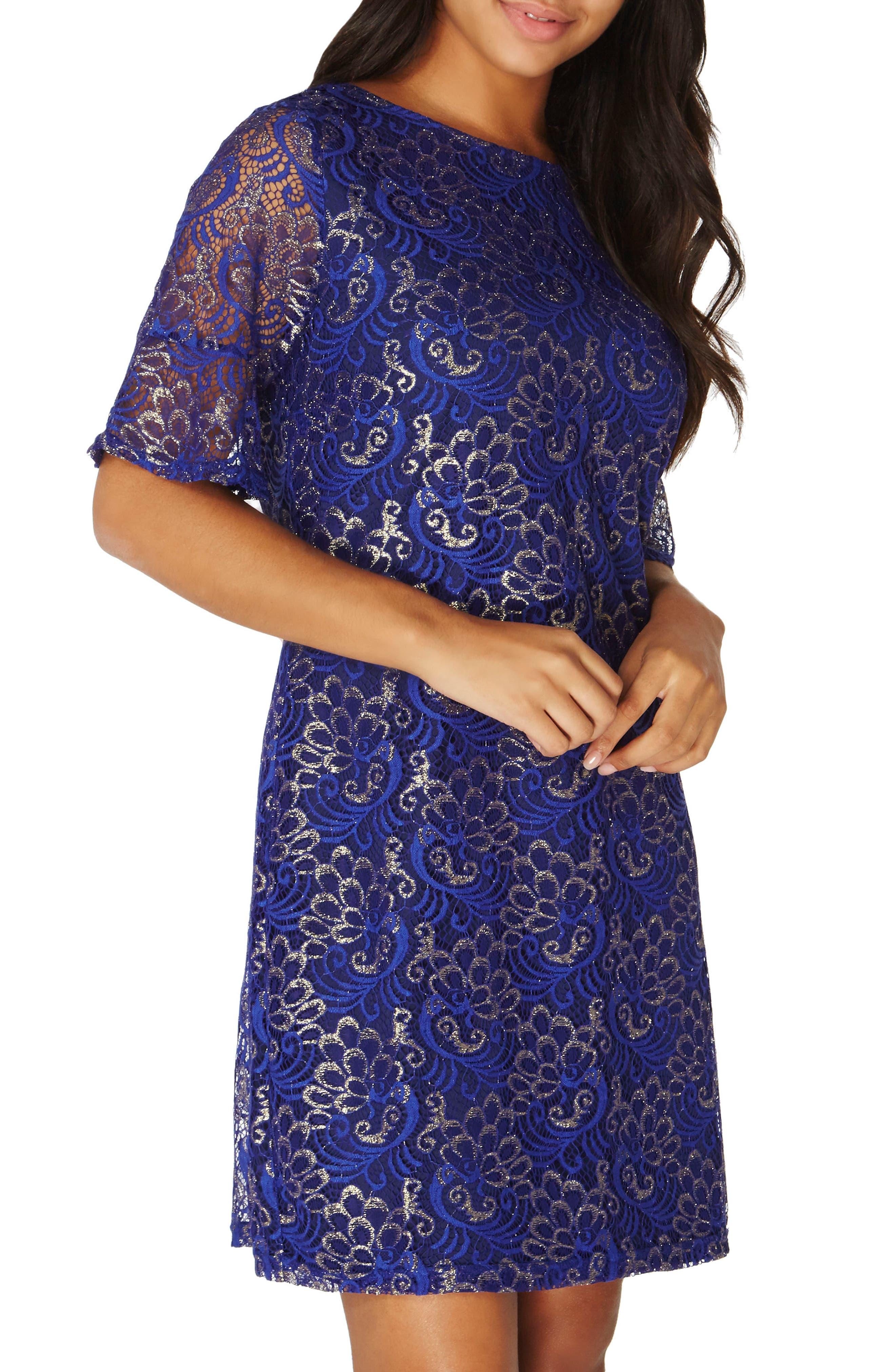 Shimmer Lace Shift Dress,                             Main thumbnail 1, color,                             400